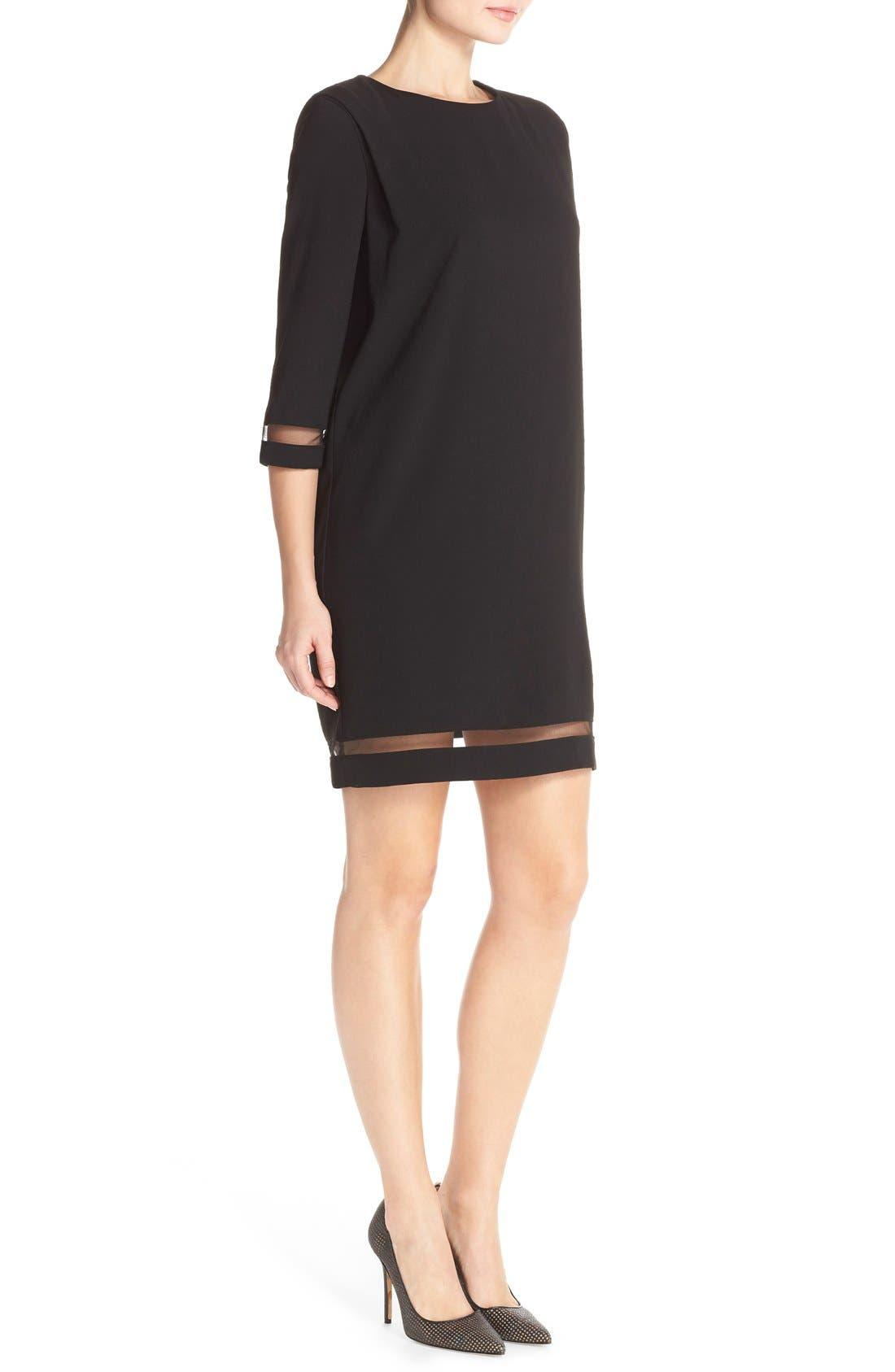 Alternate Image 3  - Tahari Crepe Shift Dress with Mesh Trim (Regular & Petite)
