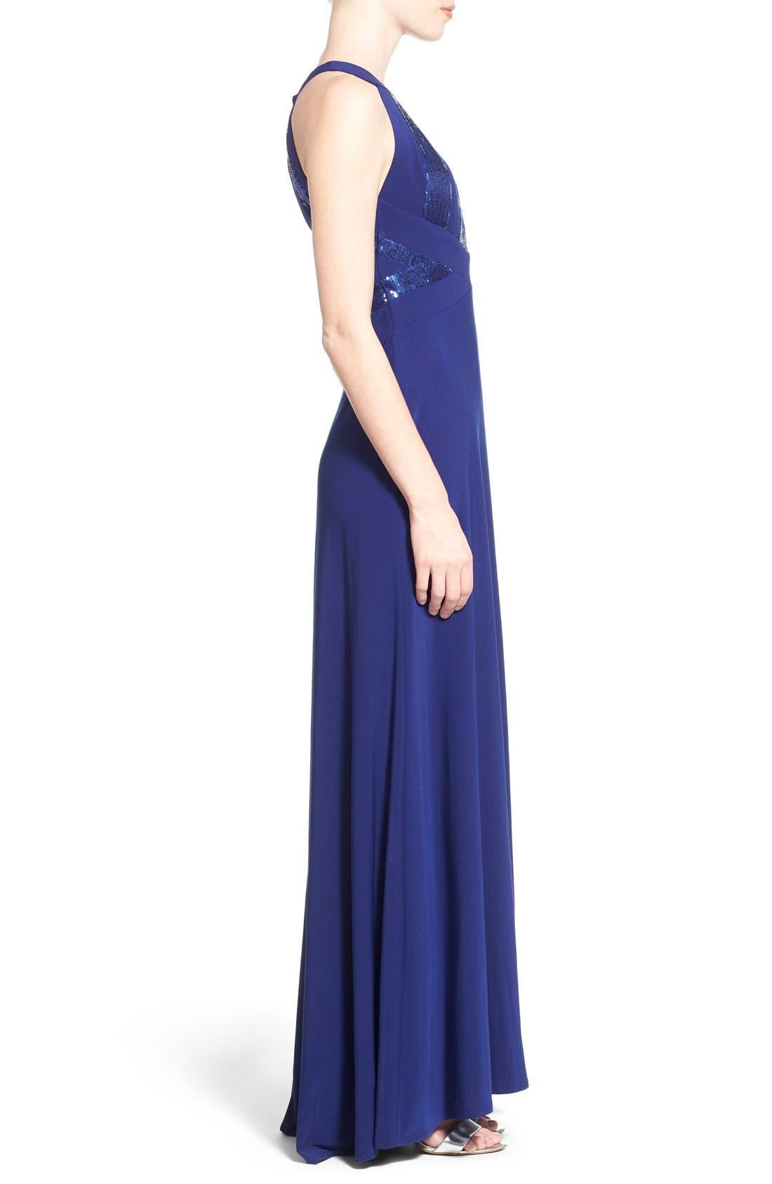Alternate Image 3  - Morgan & Co. Sequin Halter Gown