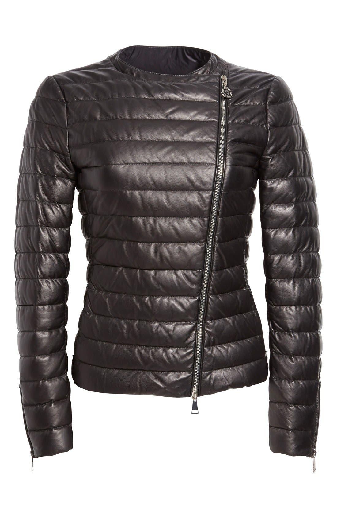 Alternate Image 4  - Moncler 'Palomete' Lambskin Leather Down Moto Jacket