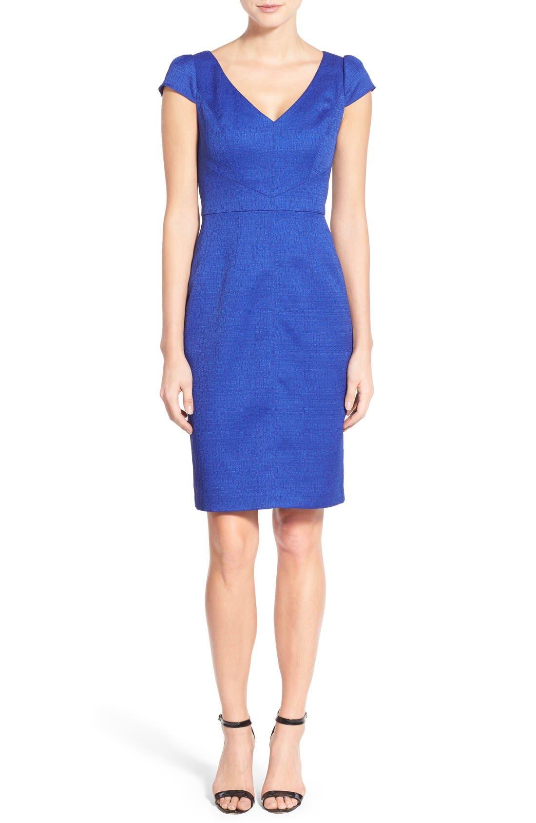 Alternate Image 4  - Adrianna Papell Cap Sleeve Jacquard Sheath Dress