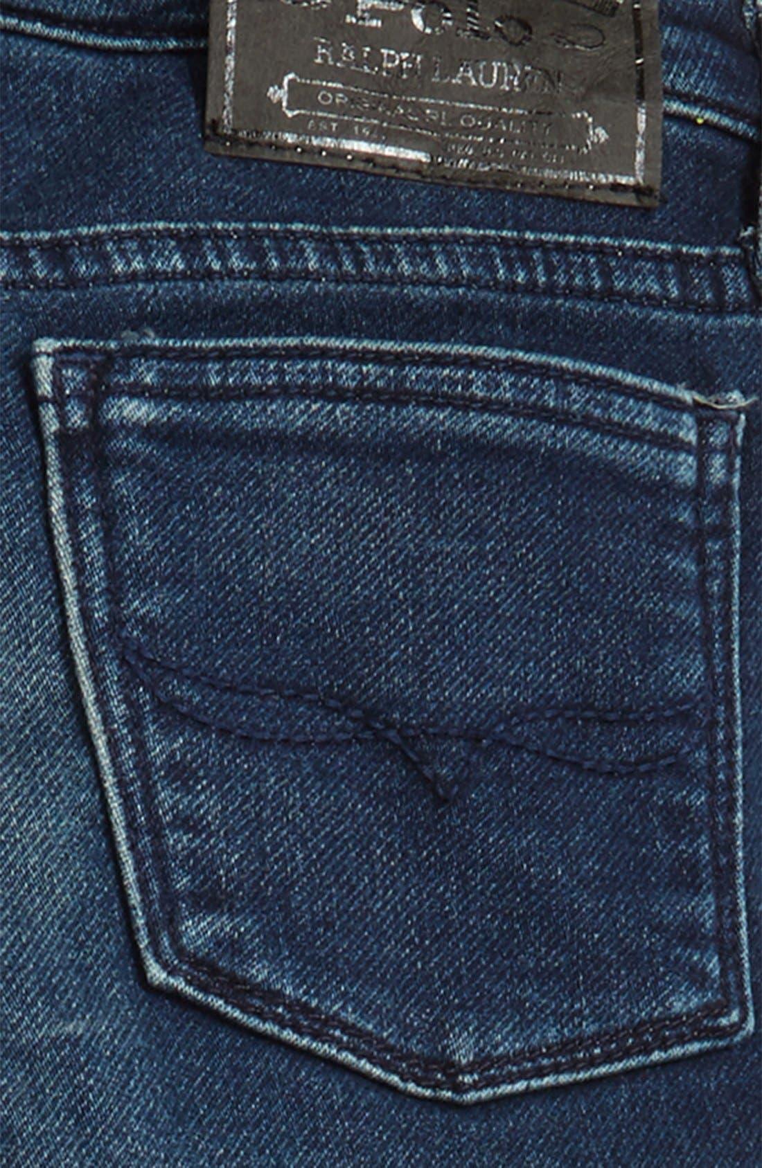Alternate Image 3  - Ralph Lauren Moto Skinny Jeans (Toddler Girls & Little Girls)