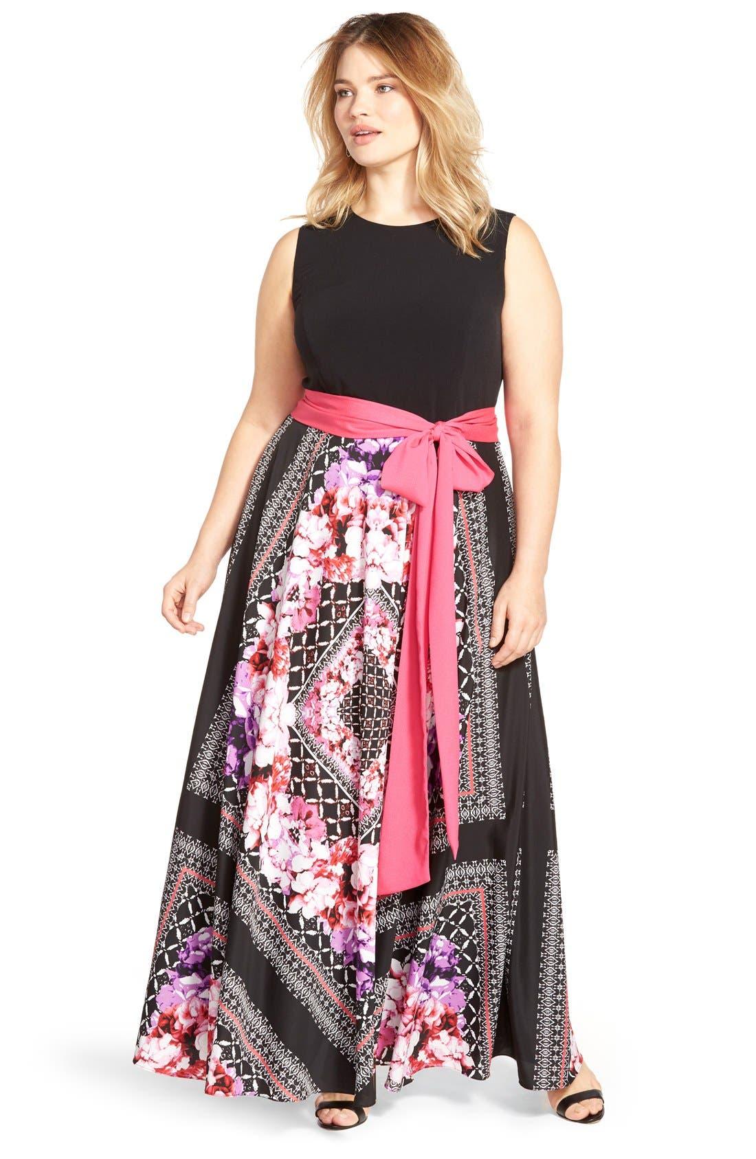 Alternate Image 6  - Eliza J Scarf Print Jersey & Crêpe de Chine Maxi Dress (Plus Size)