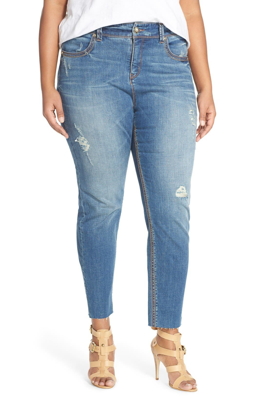 Alternate Image 1 Selected - Melissa McCarthy Seven7 Distressed Pencil Leg Jeans (Nantucket) (Plus Size)