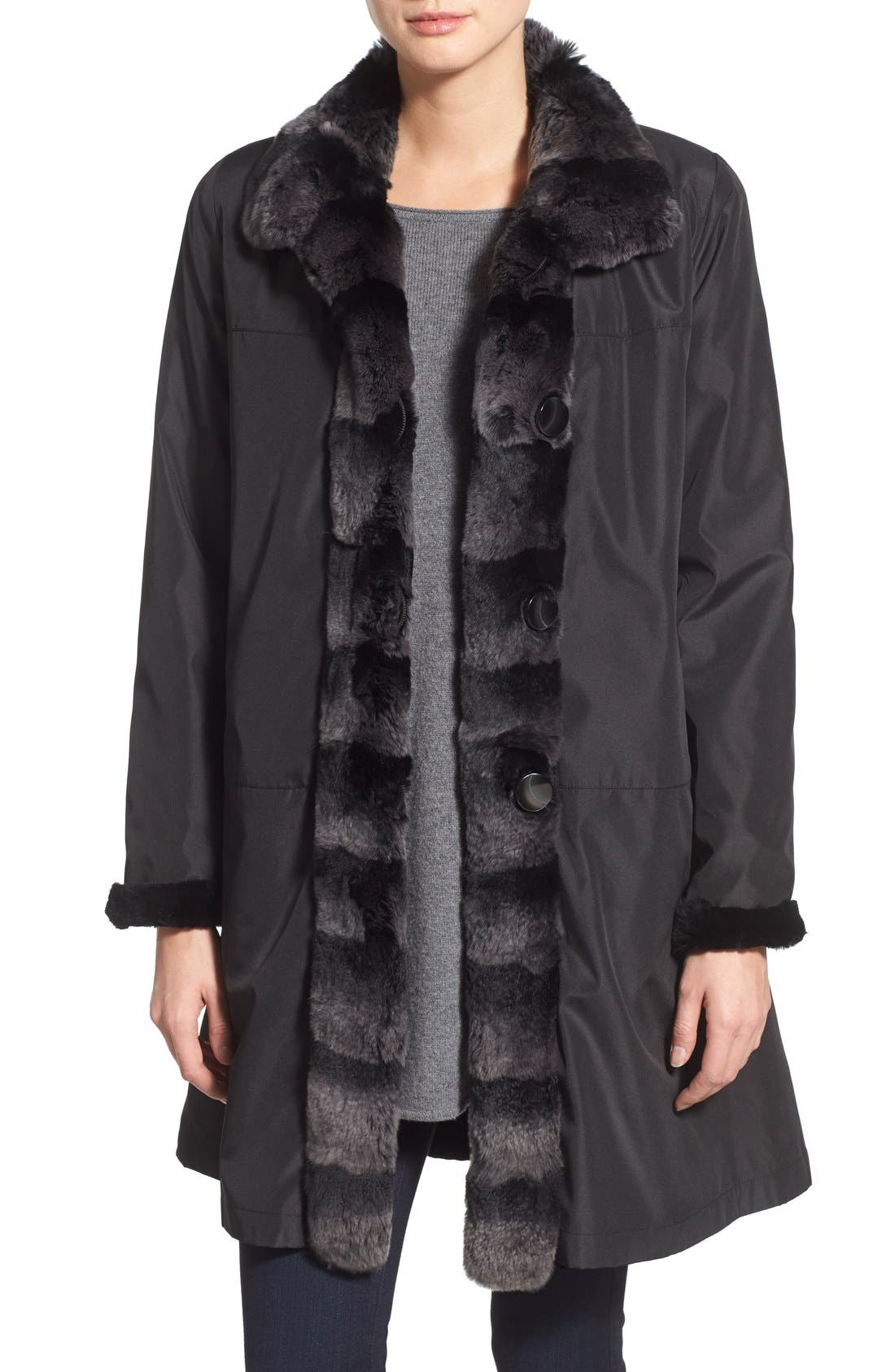 Alternate Image 1 Selected - Blue Duck Genuine Rabbit Fur Reversible Storm Coat (Regular & Petite)