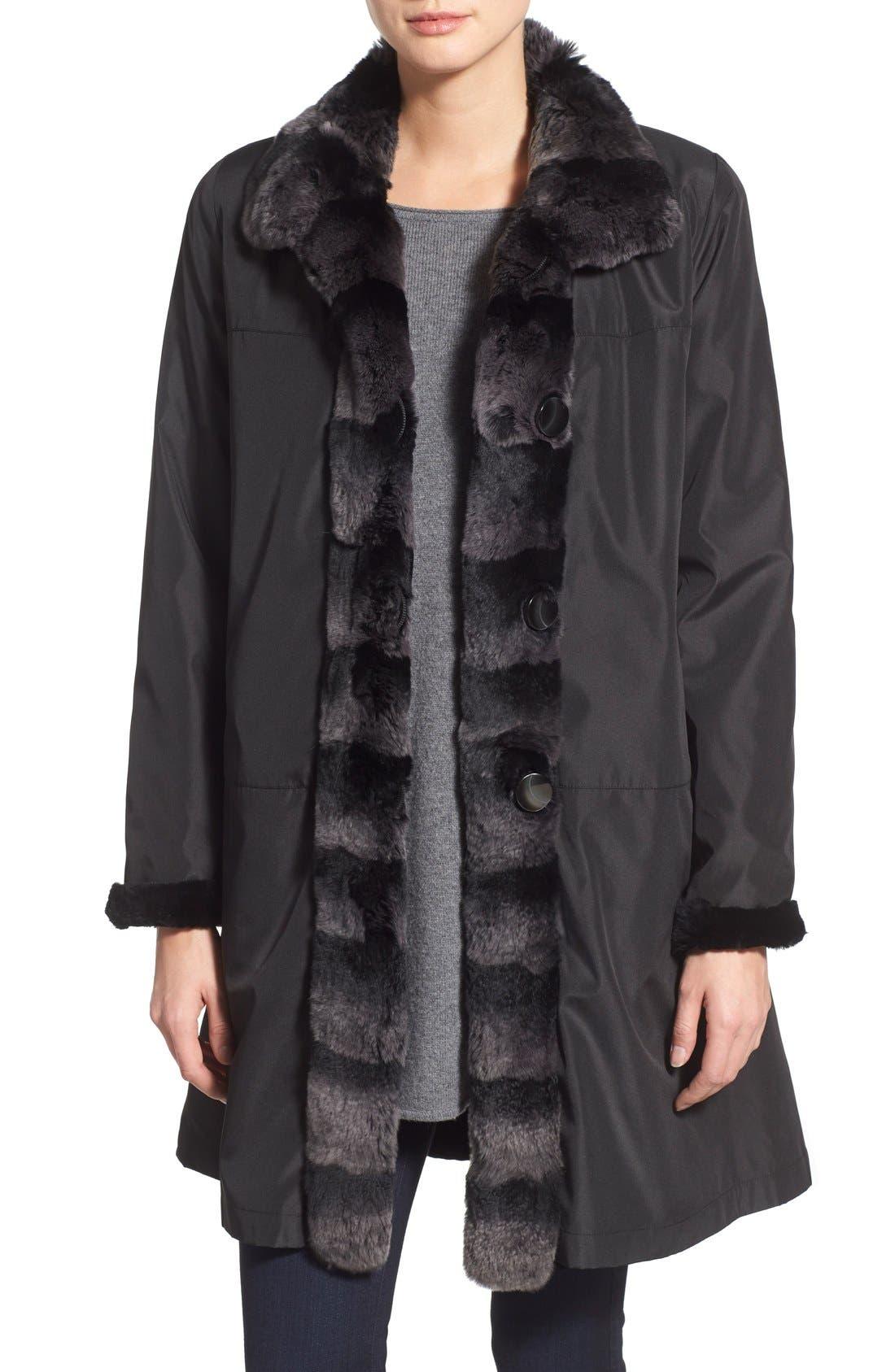 Main Image - Blue Duck Genuine Rabbit Fur Reversible Storm Coat (Regular & Petite)
