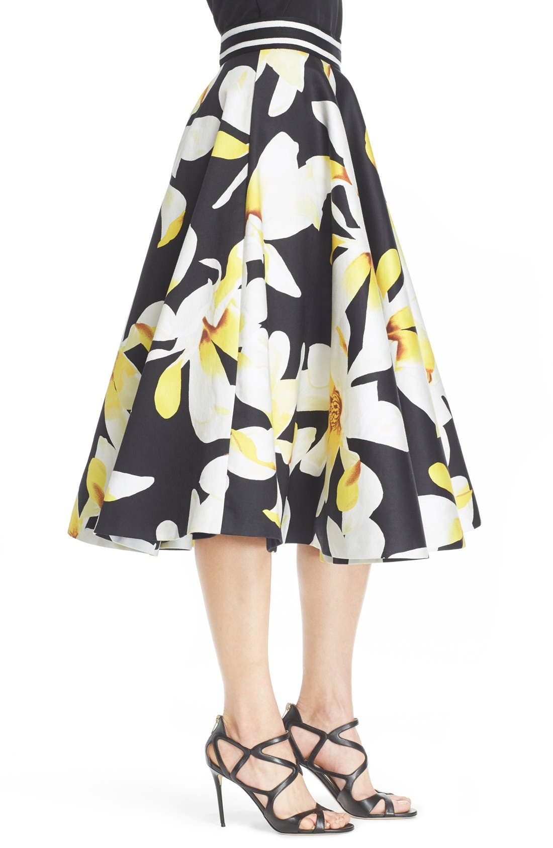 Alternate Image 4  - Alice + Olivia 'Dianna' Floral Print Circle Skirt