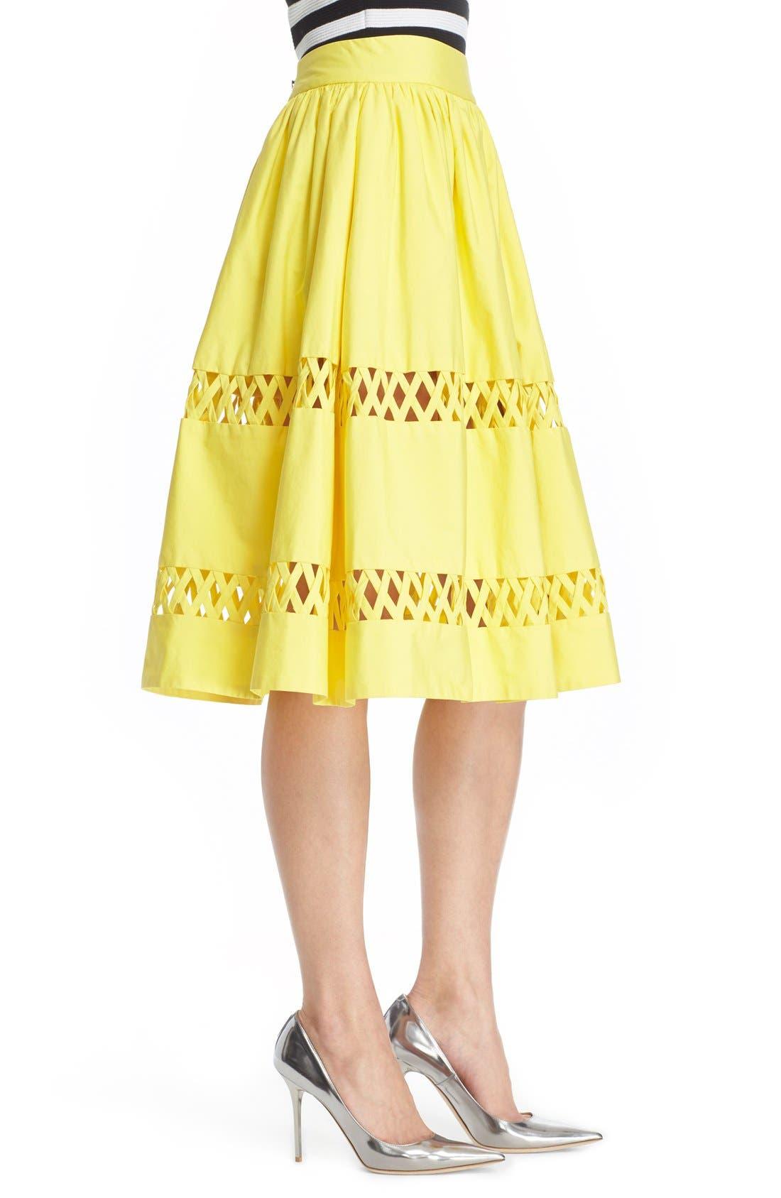 Alternate Image 3  - Alice + Olivia 'Morina' Lattice Trim Cotton Skirt