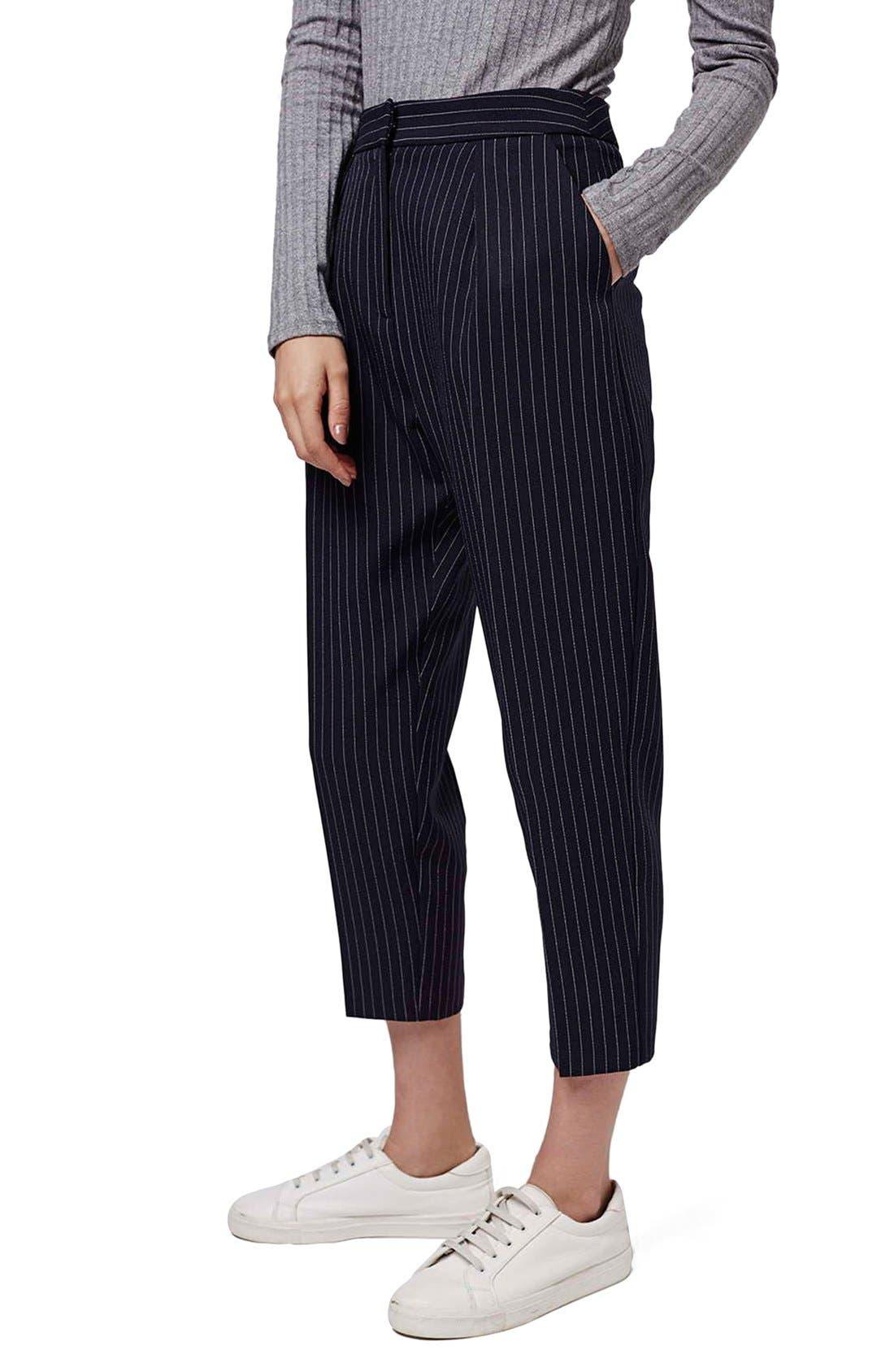 Main Image - Topshop Pinstripe Crop Trousers (Petite)