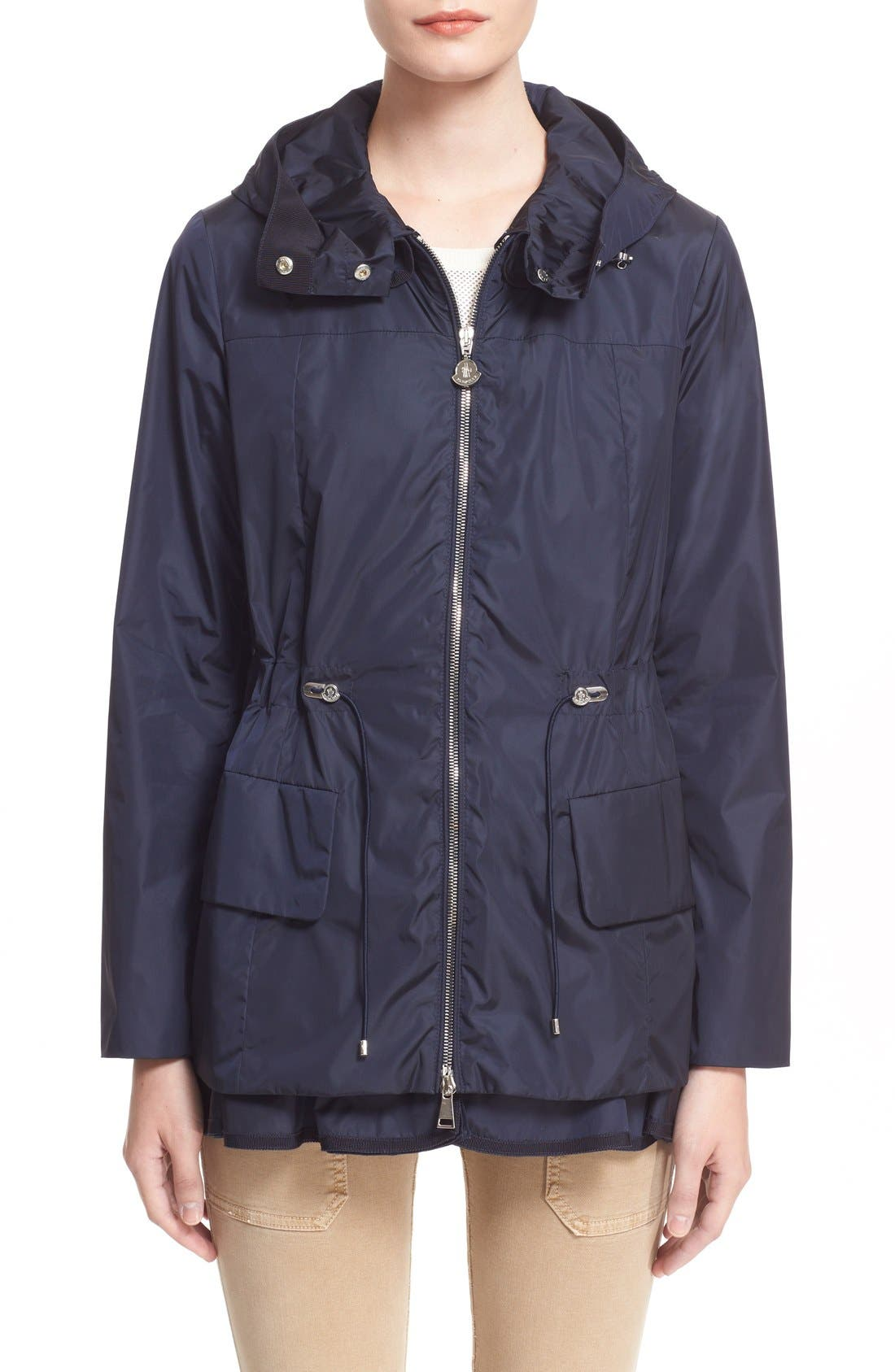 Alternate Image 1 Selected - Moncler 'Limbert' Water Resistant Peplum Hem Hooded Rain Jacket