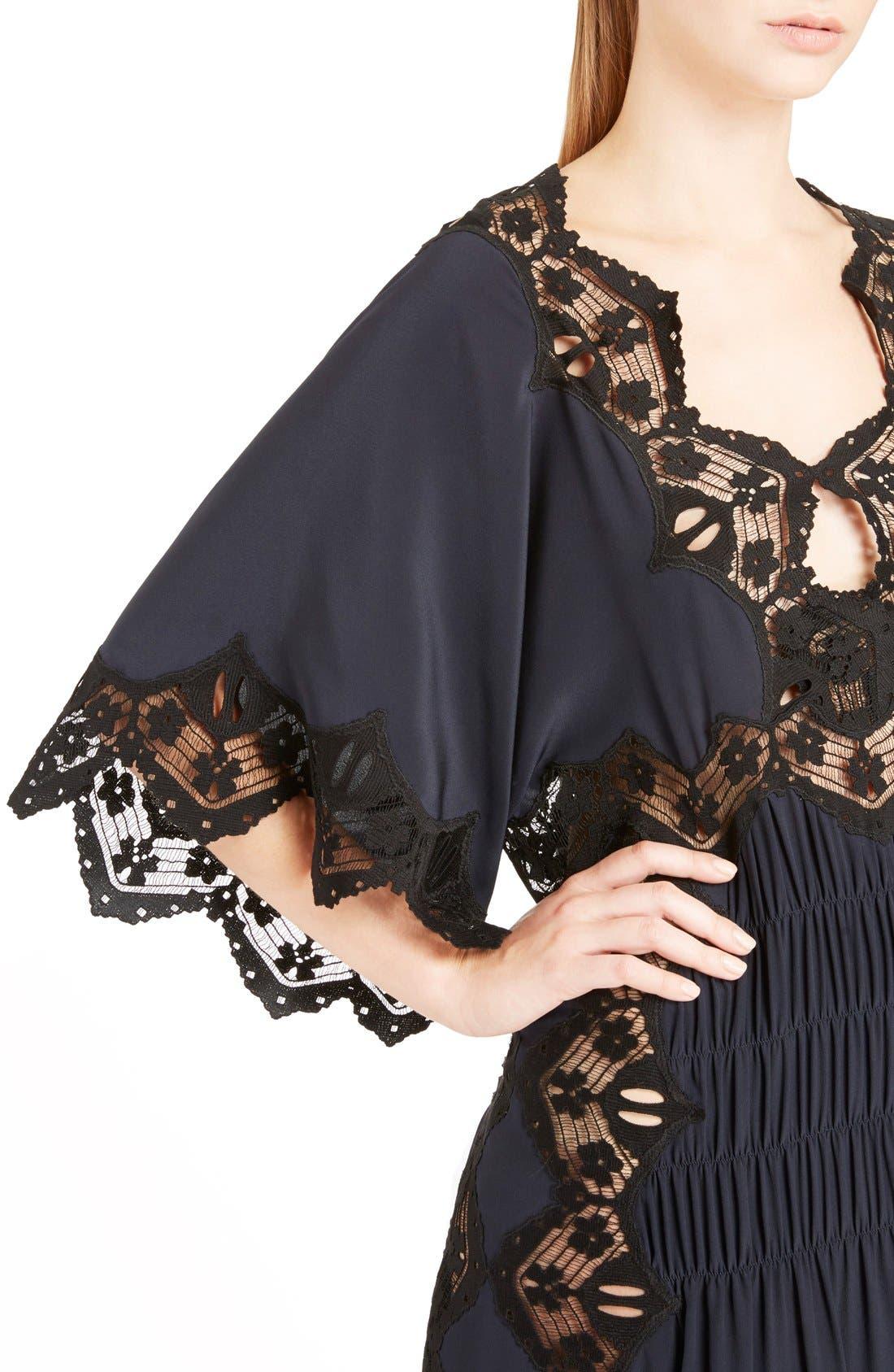 Alternate Image 5  - Chloé Smocked Scalloped Lace Trim Silk Dress