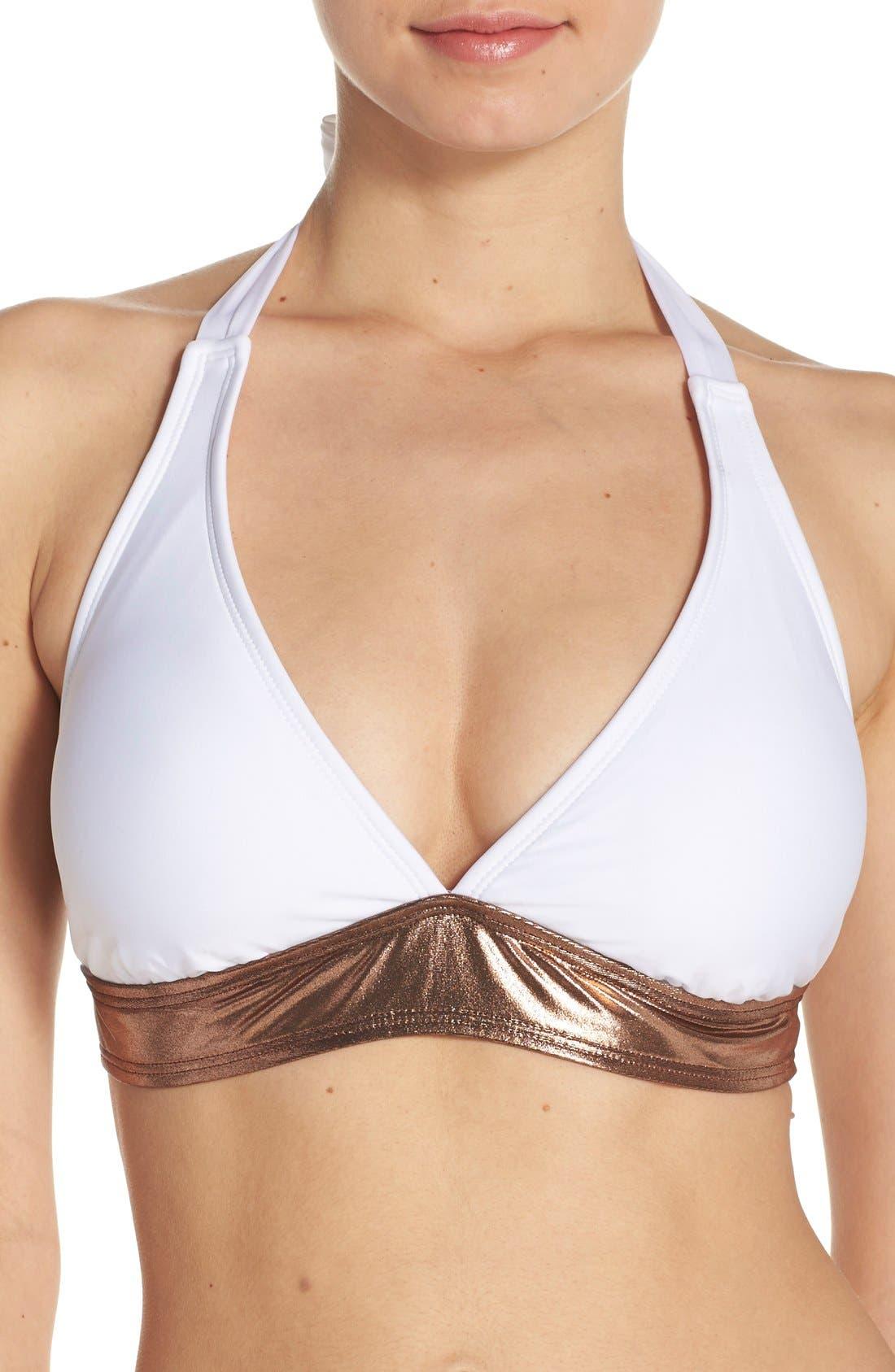 Alternate Image 1 Selected - Luxe 'Premier' Halter Bikini Top