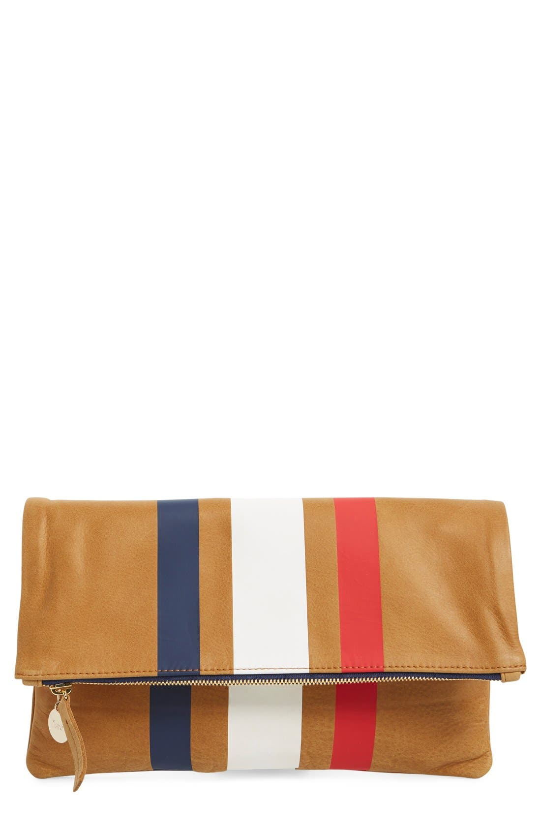 Main Image - Clare V. 'Supreme' Stripe Leather Foldover Clutch