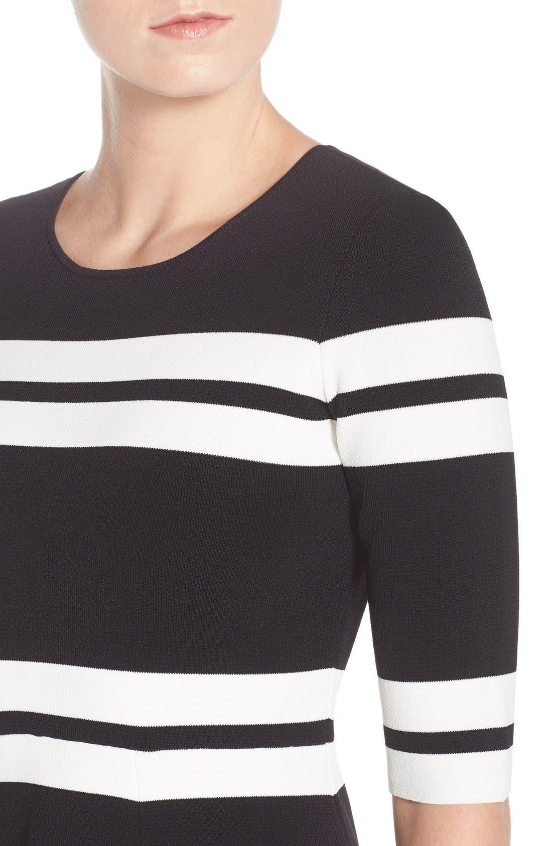 Alternate Image 4  - Eliza J Stripe Sweater Fit & Flare Dress (Regular & Petite)