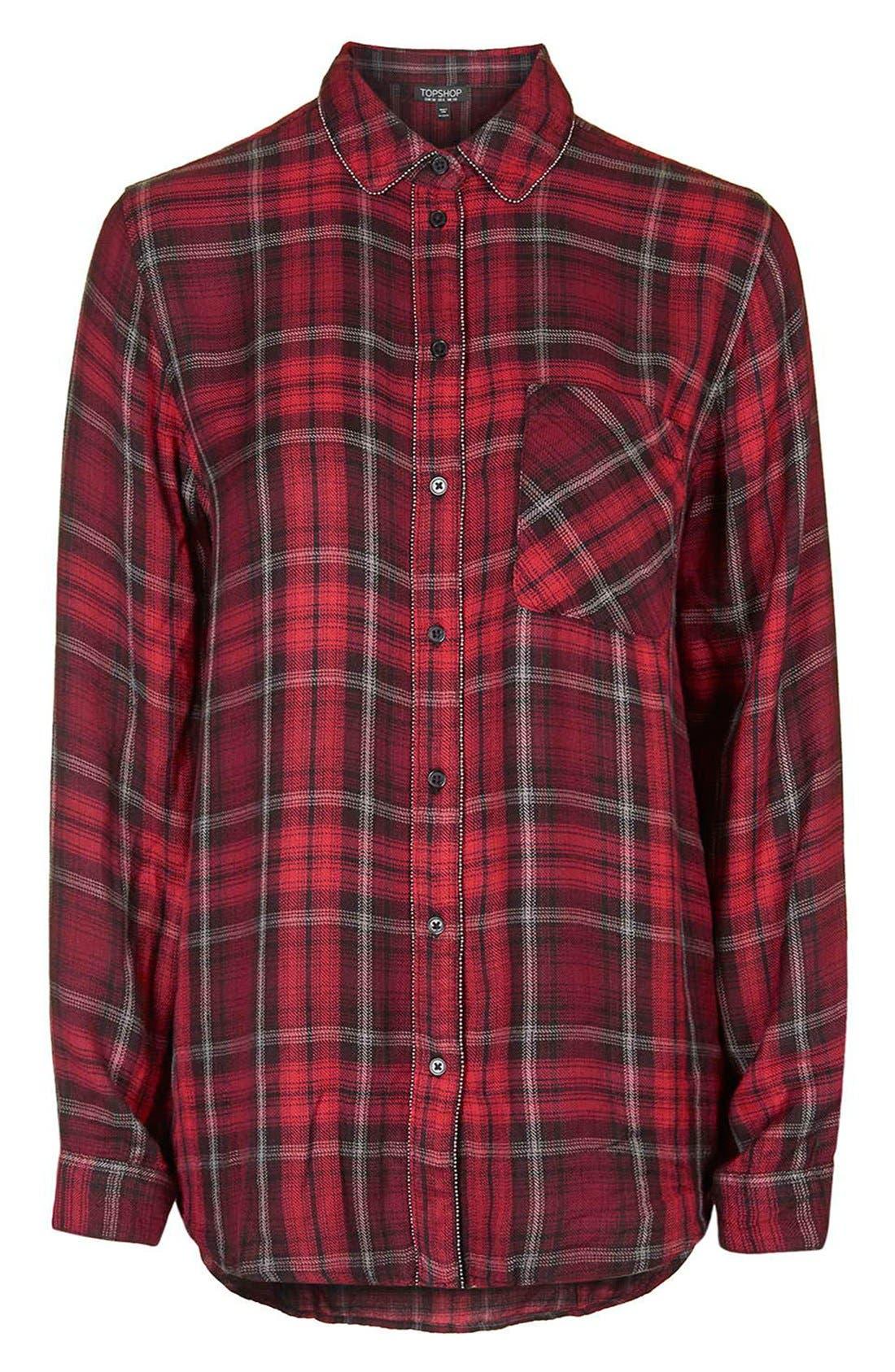 Alternate Image 4  - Topshop 'Ali' Beaded Plaid Shirt
