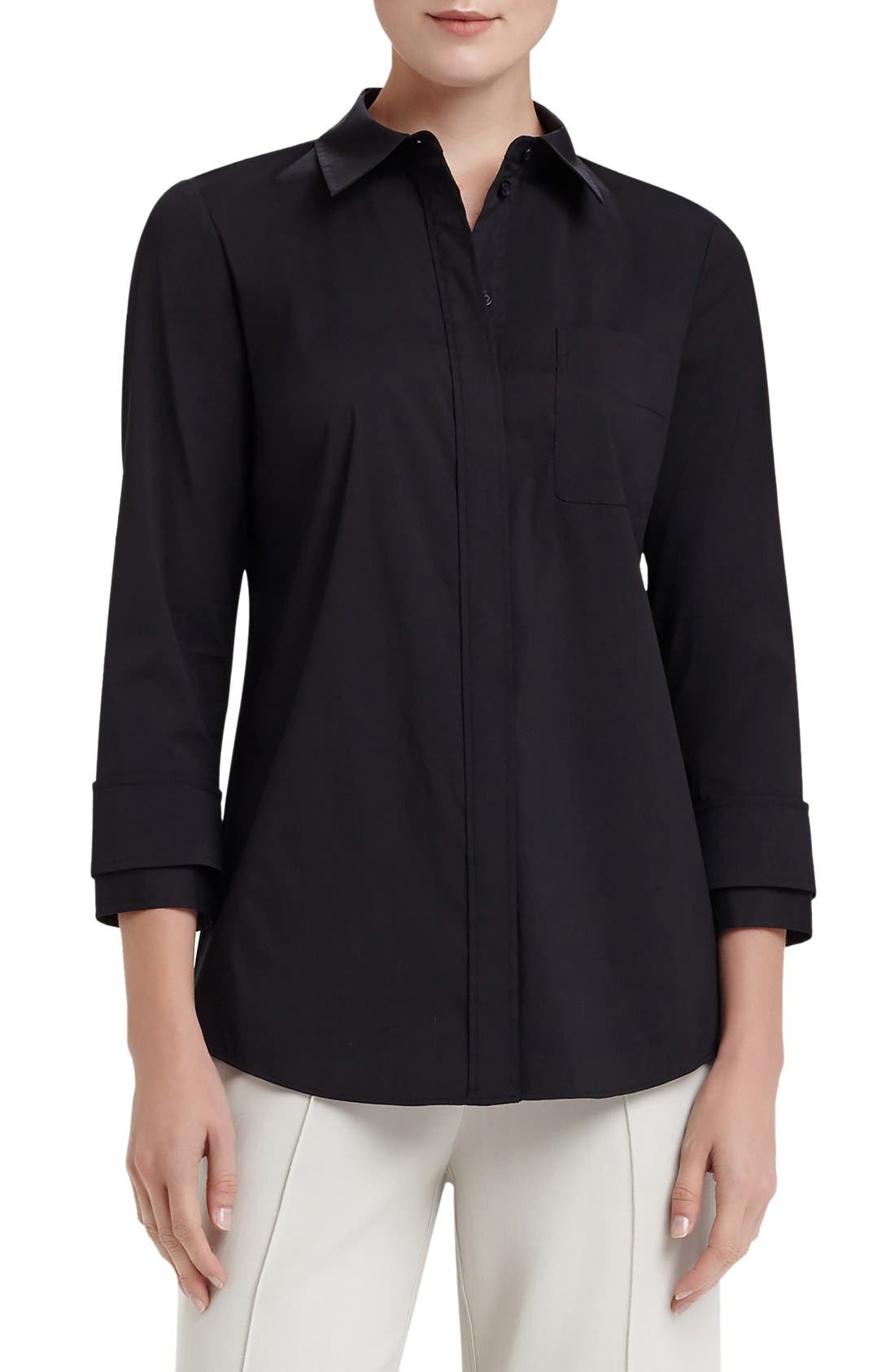 Alternate Image 1 Selected - Lafayette 148 New York 'Emerson' Stretch Poplin Blouse
