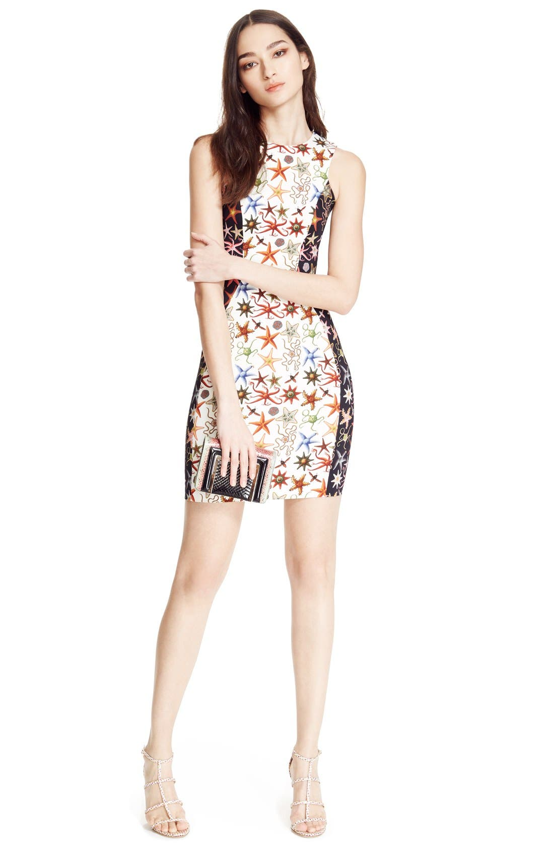 Alternate Image 7  - Versace Collection Starfish Print Bicolor Sheath Dress