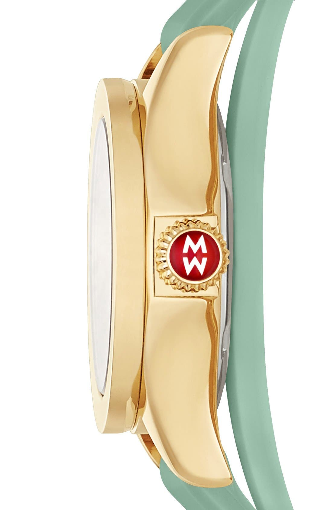Alternate Image 2  - MICHELE 'Cape' Topaz Dial Double Wrap Silicone Strap Watch, 27mm