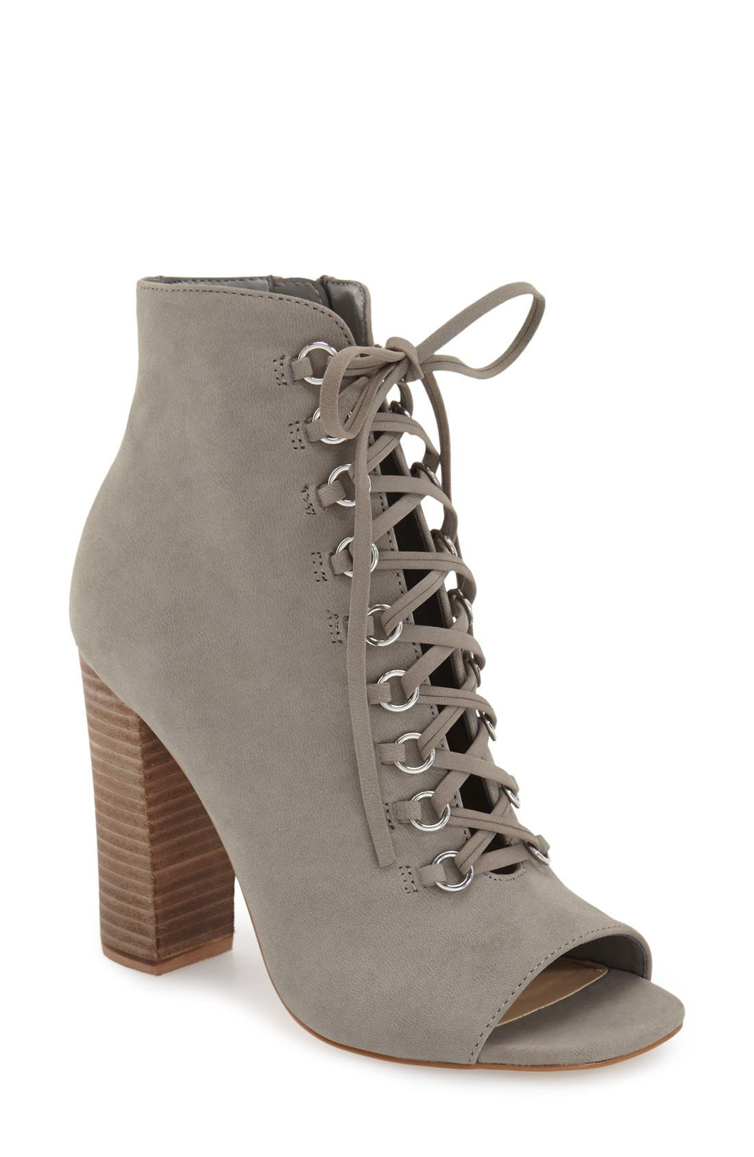 Alternate Image 1 Selected - Steve Madden 'Freemee' Open Top Lace-Up Bootie (Women)