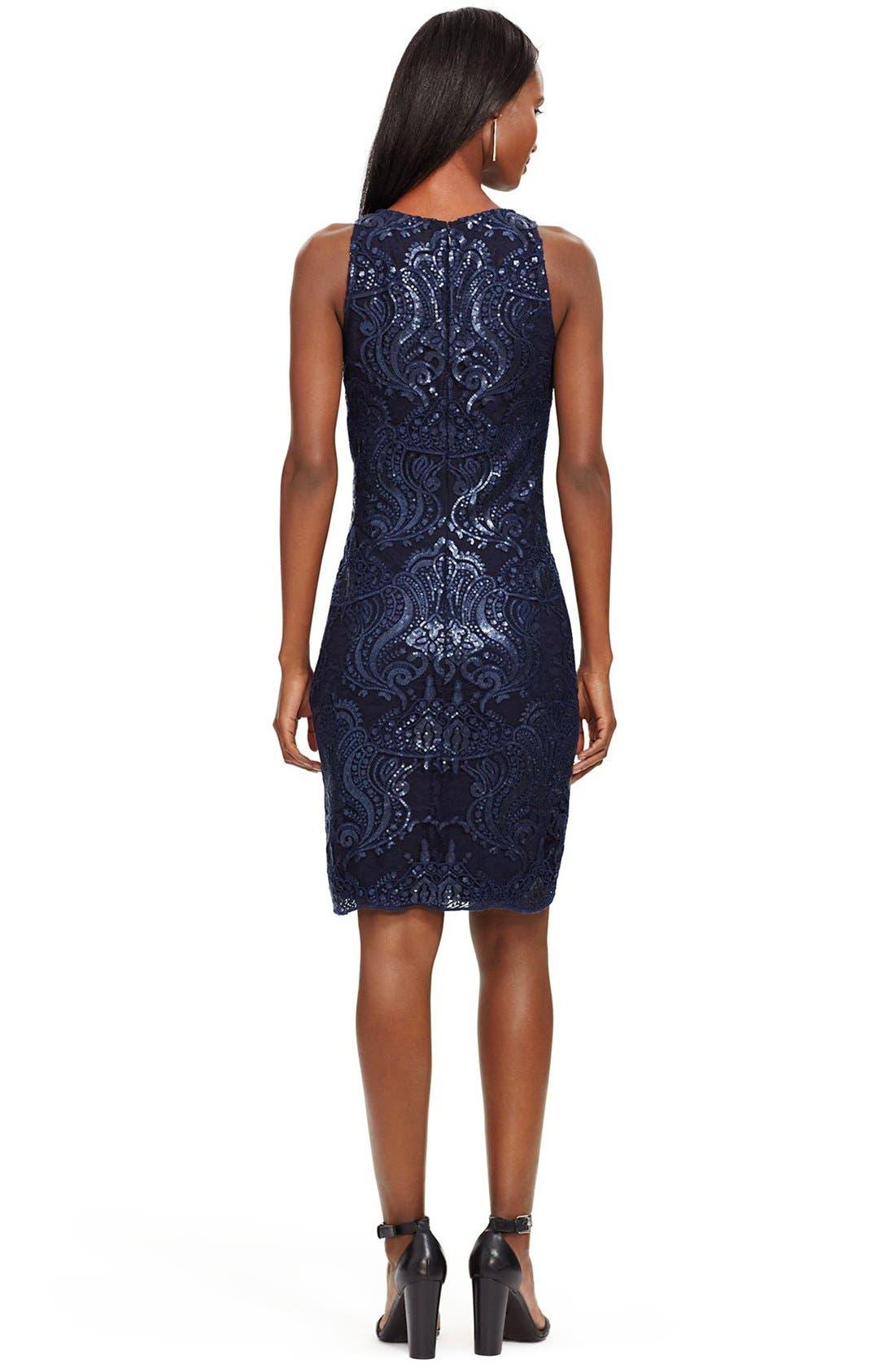 Alternate Image 2  - Lauren Ralph Lauren Sequin Lace Sheath Dress