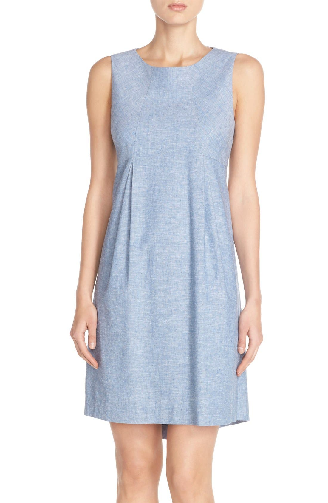 Alternate Image 1 Selected - Donna Morgan Chambray Trapeze Dress