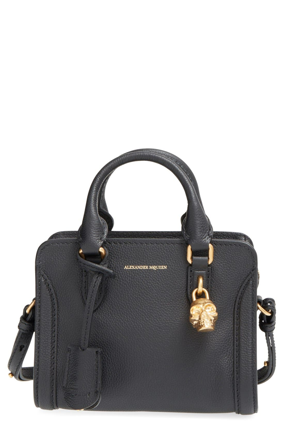 Alternate Image 1 Selected - Alexander McQueen 'Mini Padlock' Calfskin Leather Satchel