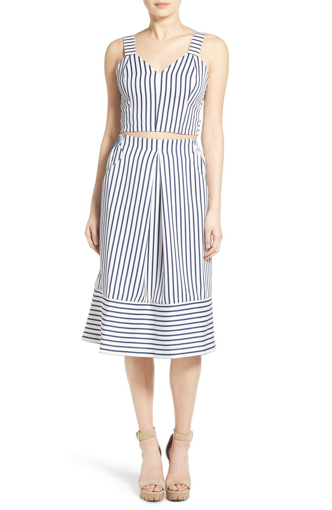 Alternate Image 3  - J.O.A. Cotton Poplin Stripe Midi Skirt