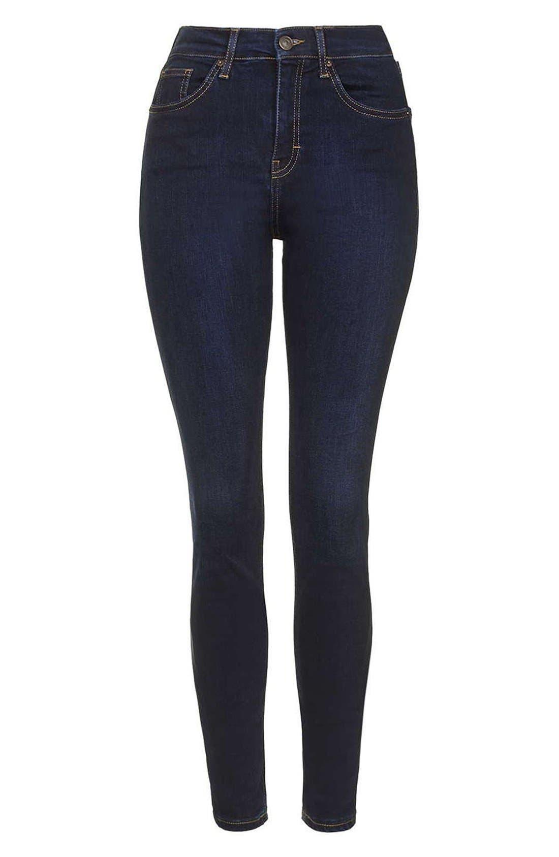 Alternate Image 4  - Topshop Moto 'Jamie' High Rise Skinny Jeans  (Tall)