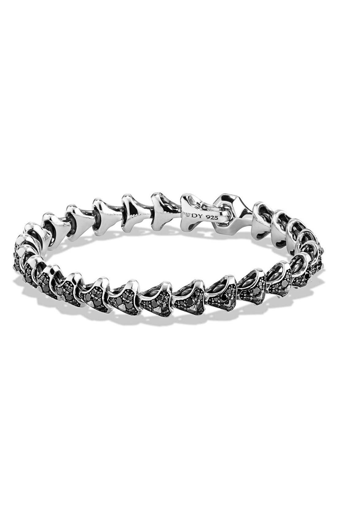 Alternate Image 1 Selected - David Yurman 'Armory' Single Row Link Bracelet with Black Diamonds