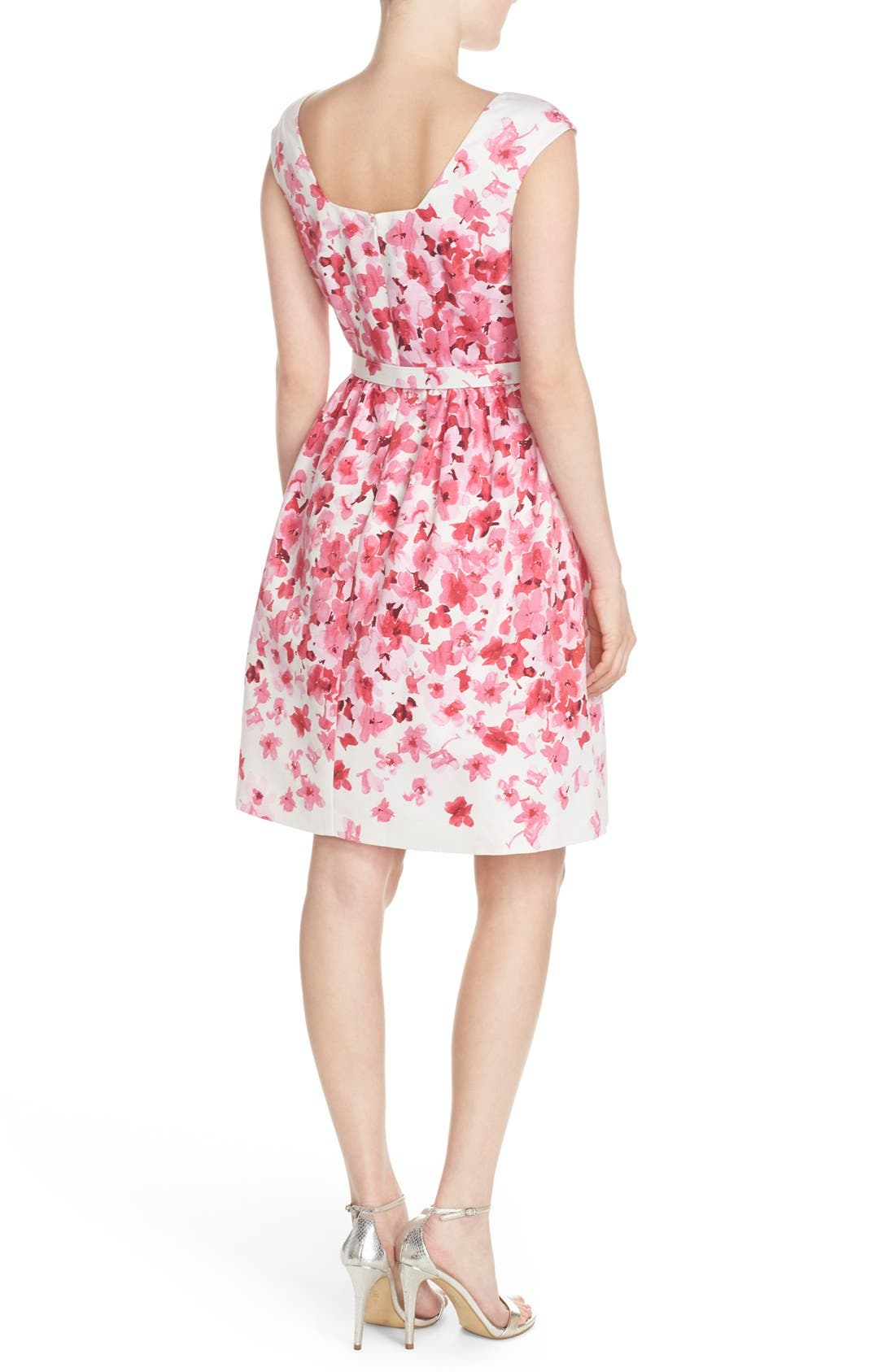 Alternate Image 2  - Eliza J Belted Floral Faille Fit & Flare Dress