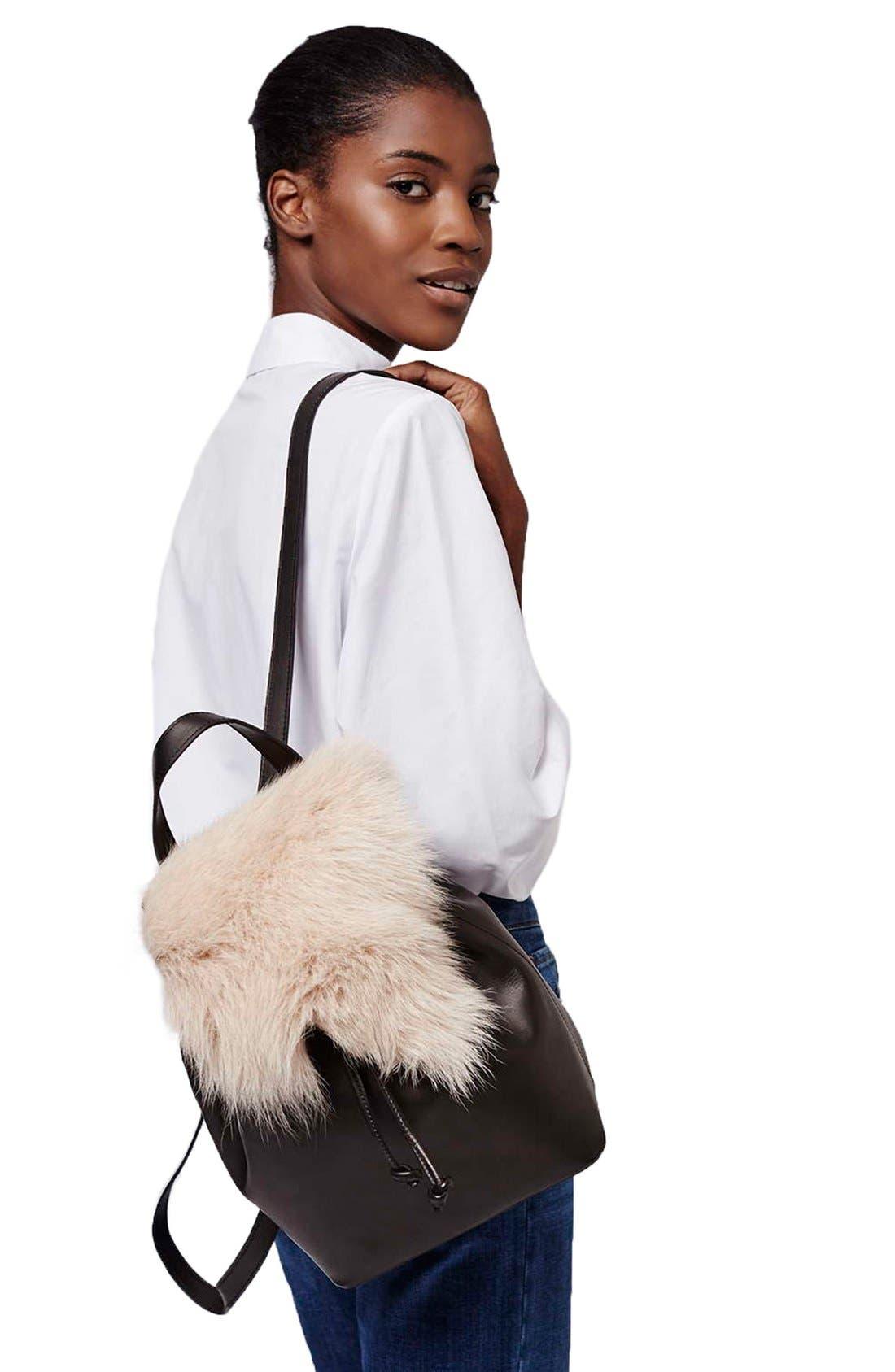 Alternate Image 2  - Topshop Shearling & Leather Backpack