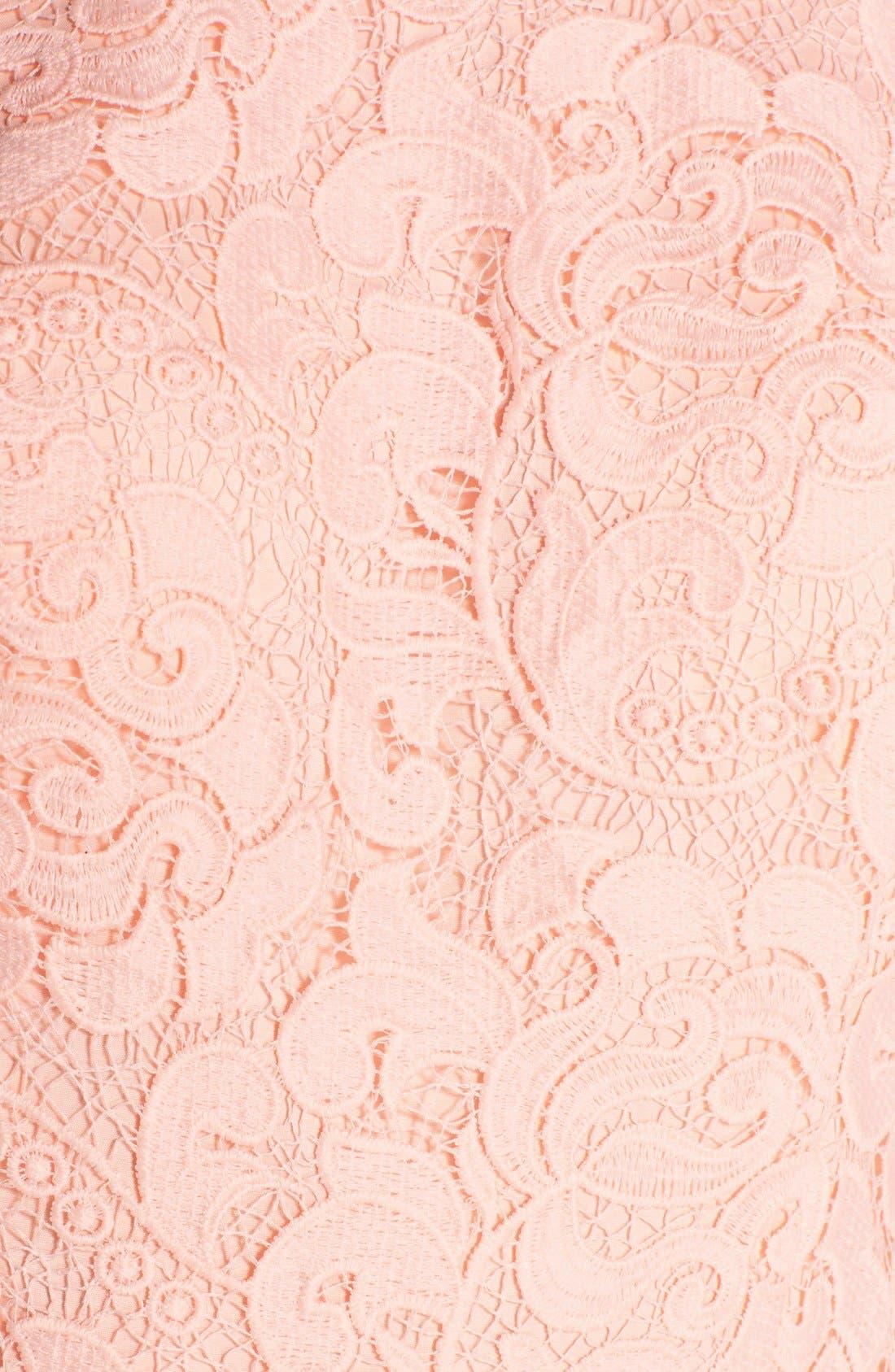 Alternate Image 6  - Aidan by Aidan Mattox Organza Shadow Stripe Lace Fit & Flare Dress