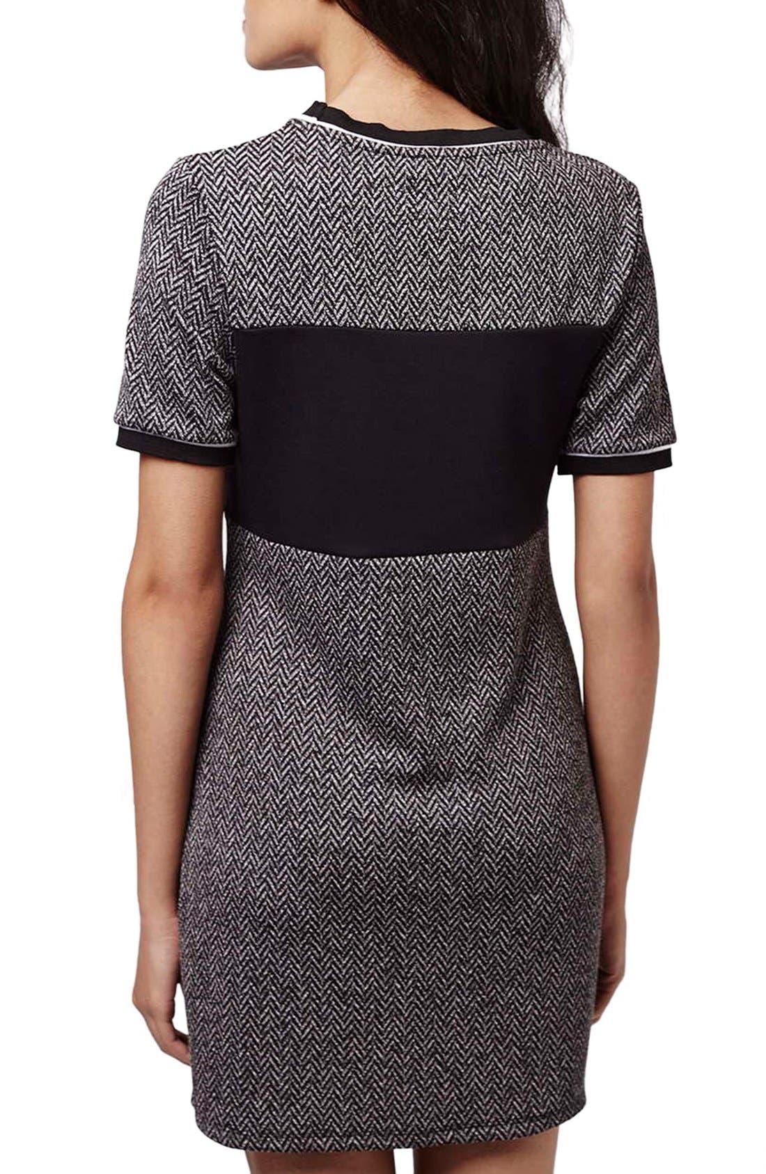 Alternate Image 2  - Topshop Colorblock Herringbone Shift Dress