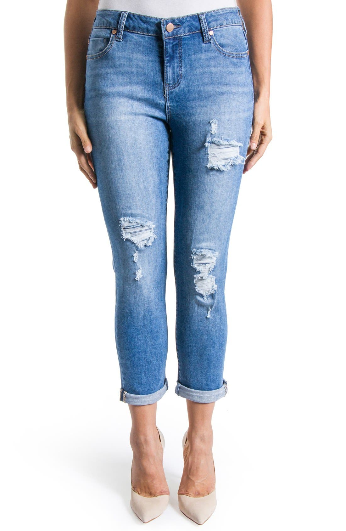 Alternate Image 1 Selected - Liverpool Jeans Company 'Corey' Distressed Crop Boyfriend Jeans (Melbourne)