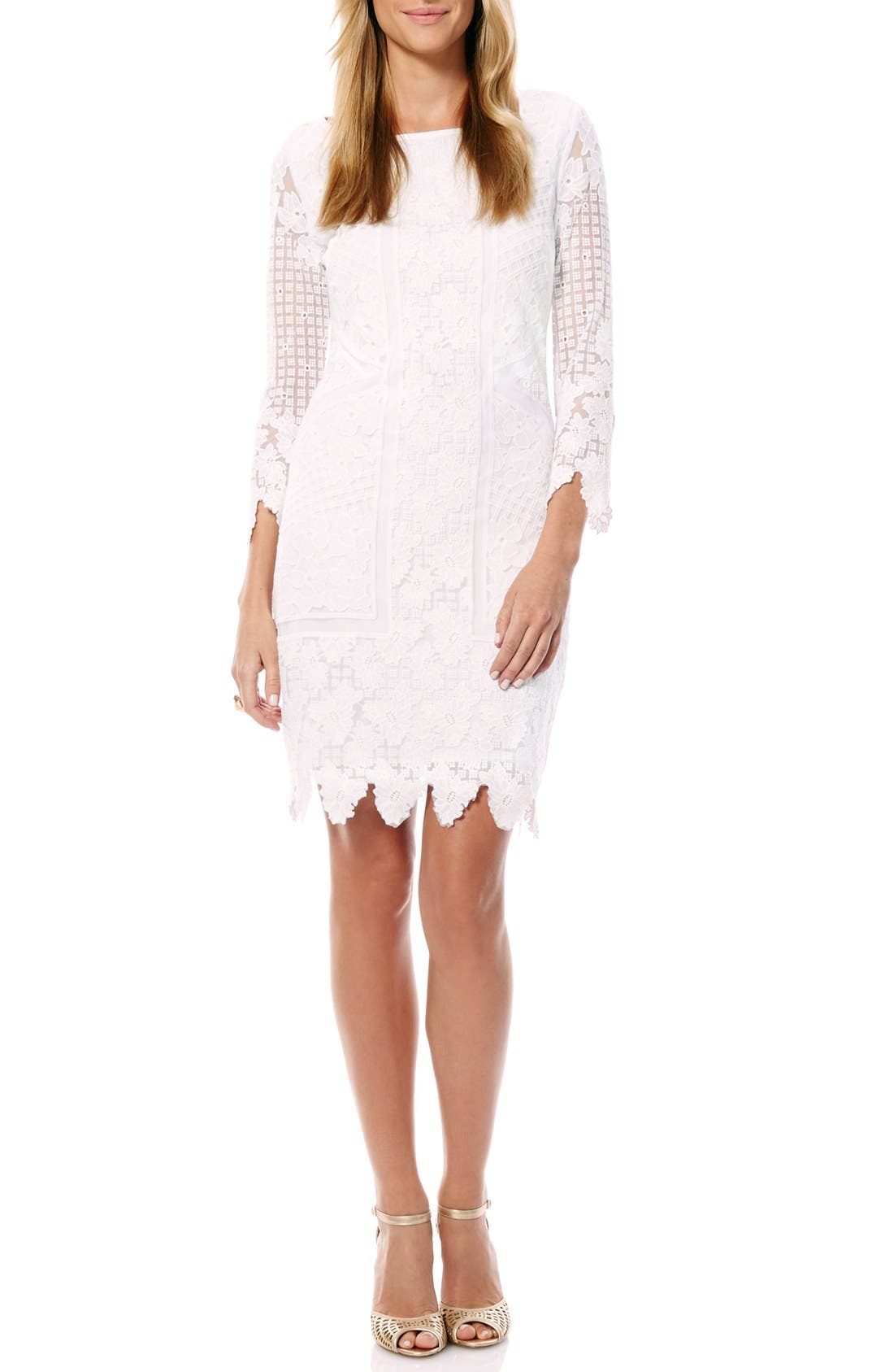 Alternate Image 1 Selected - Laundry by Shelli Segal Embroidered Mesh Sheath Dress