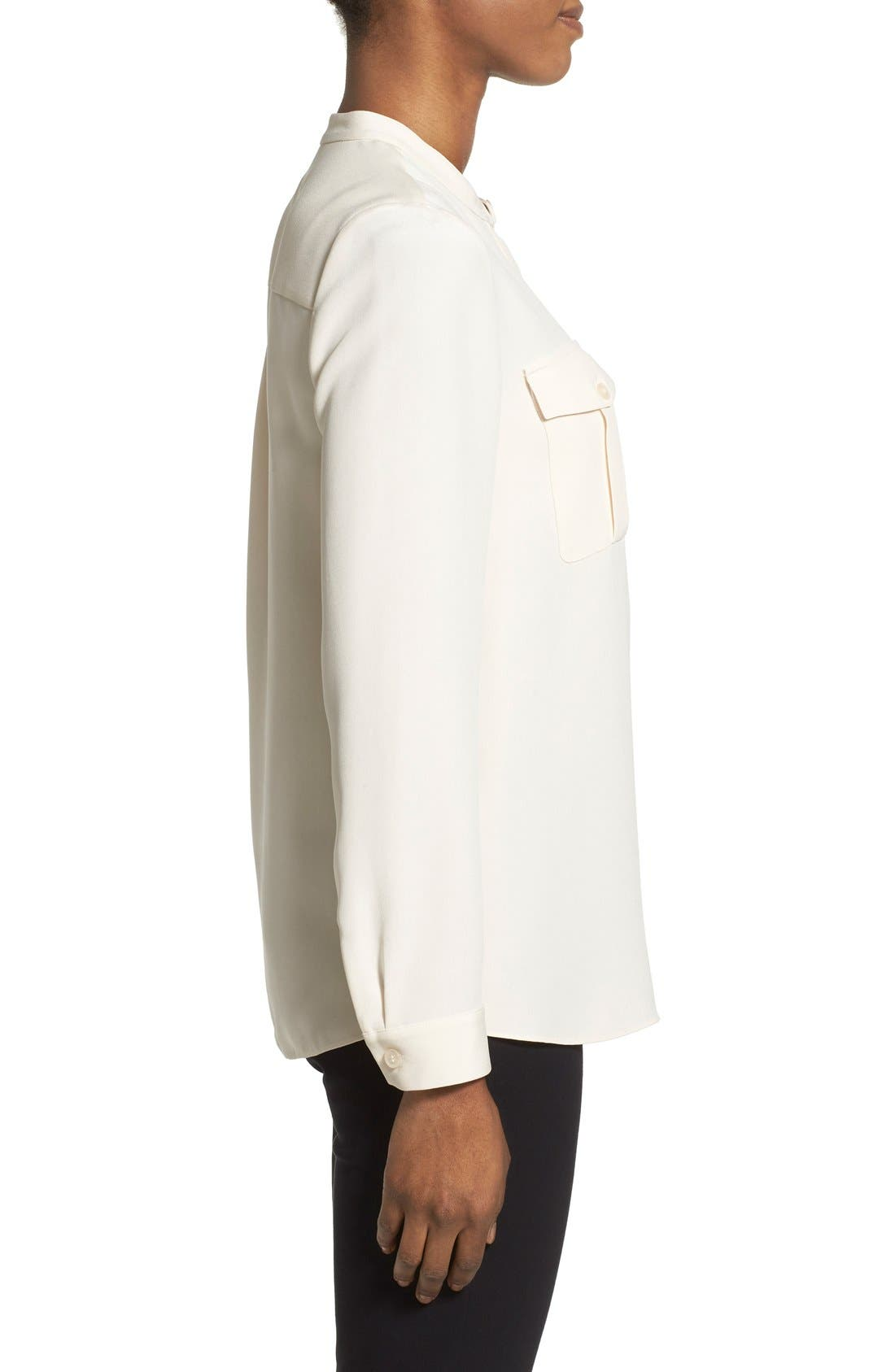Alternate Image 3  - Nordstrom Collection Sandwashed Silk Band Collar Blouse