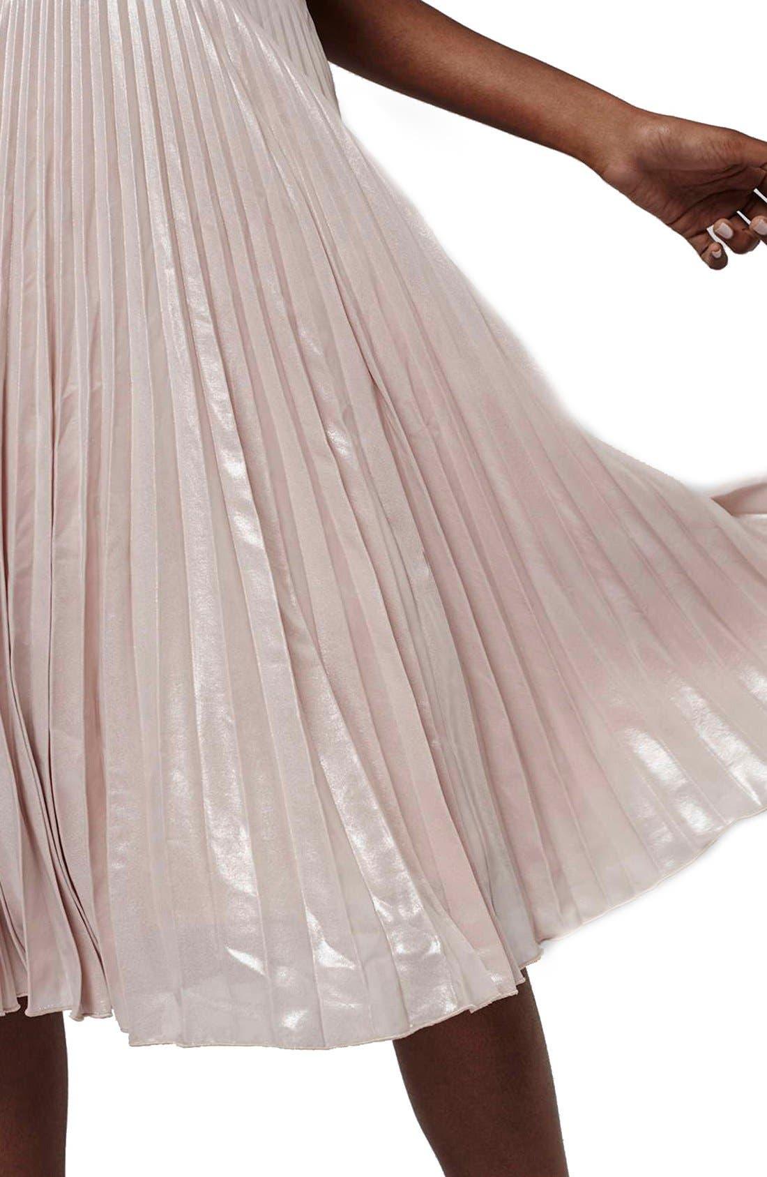 Alternate Image 4  - Topshop Metallic Pleated Midi Skirt (Petite)
