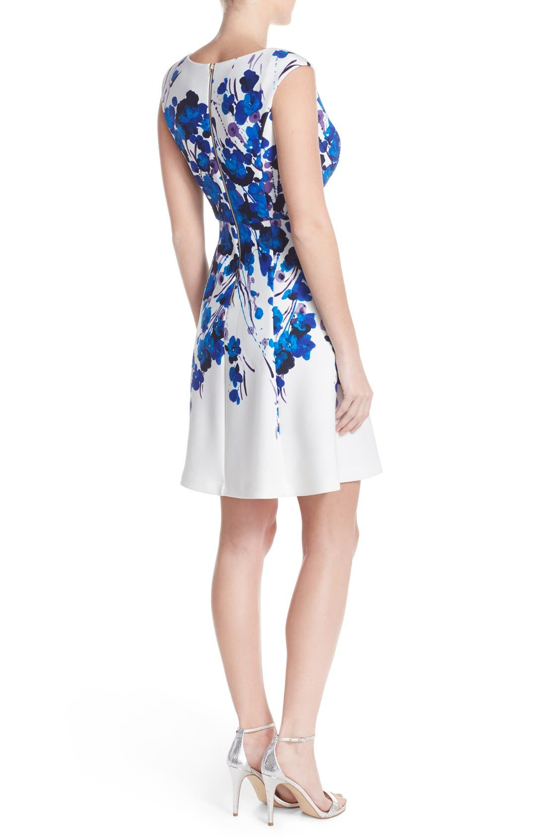 Alternate Image 2  - Adrianna Papell Placed Print Stretch Fit & Flare Dress
