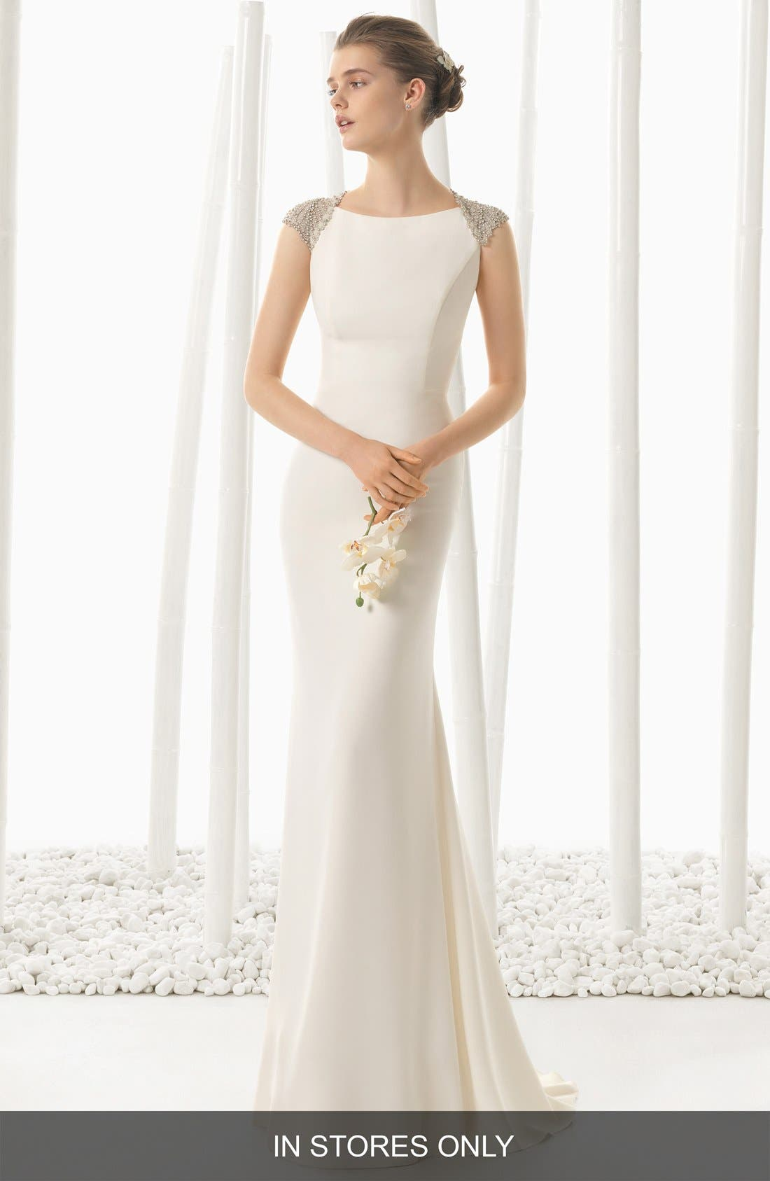 Rosa Clara Beaded Back Crepe Column Dress (In Stores Only)