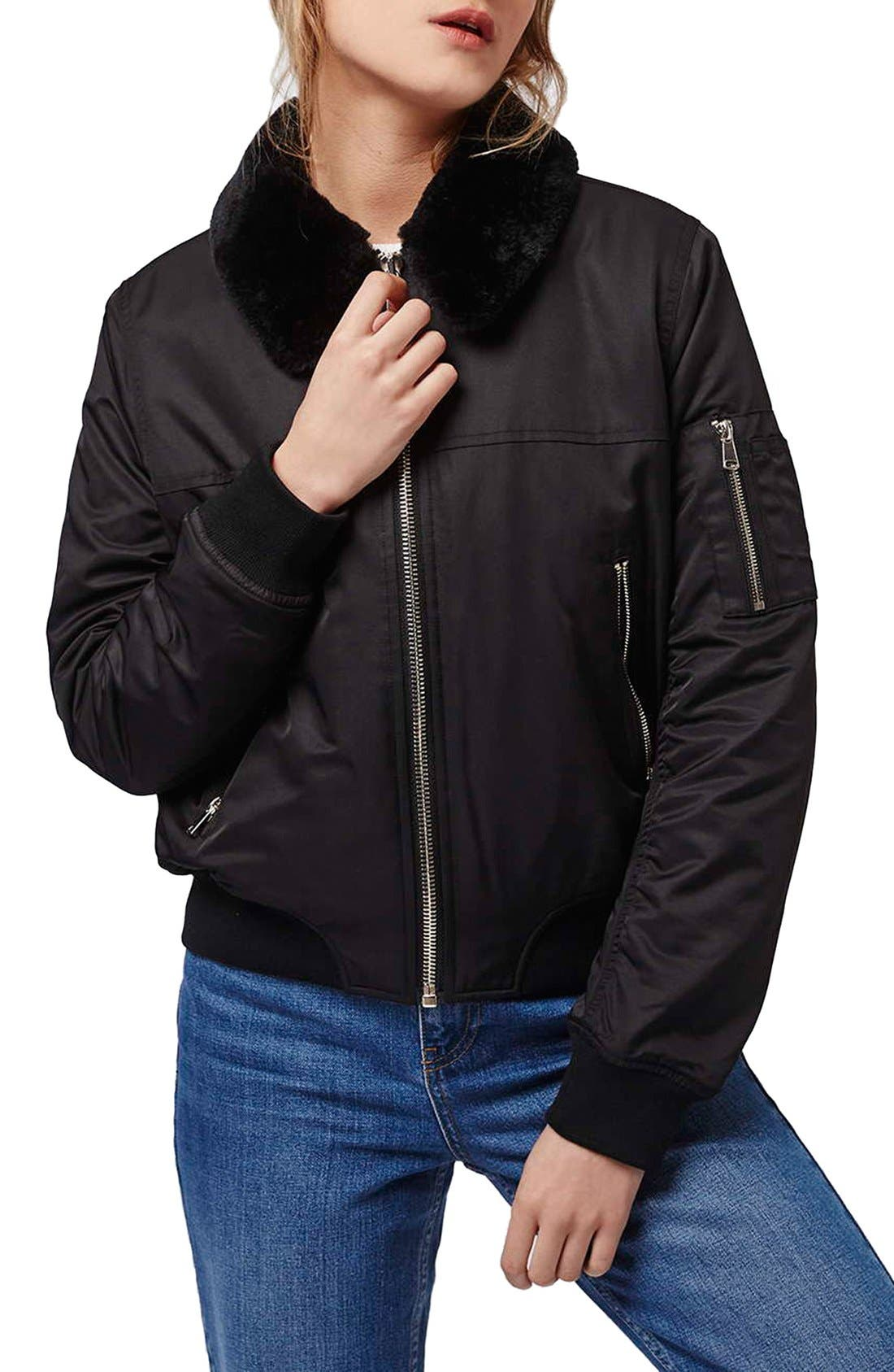 Main Image - Topshop 'MA1' Bomber Jacket with Faux Fur Collar (Petite)