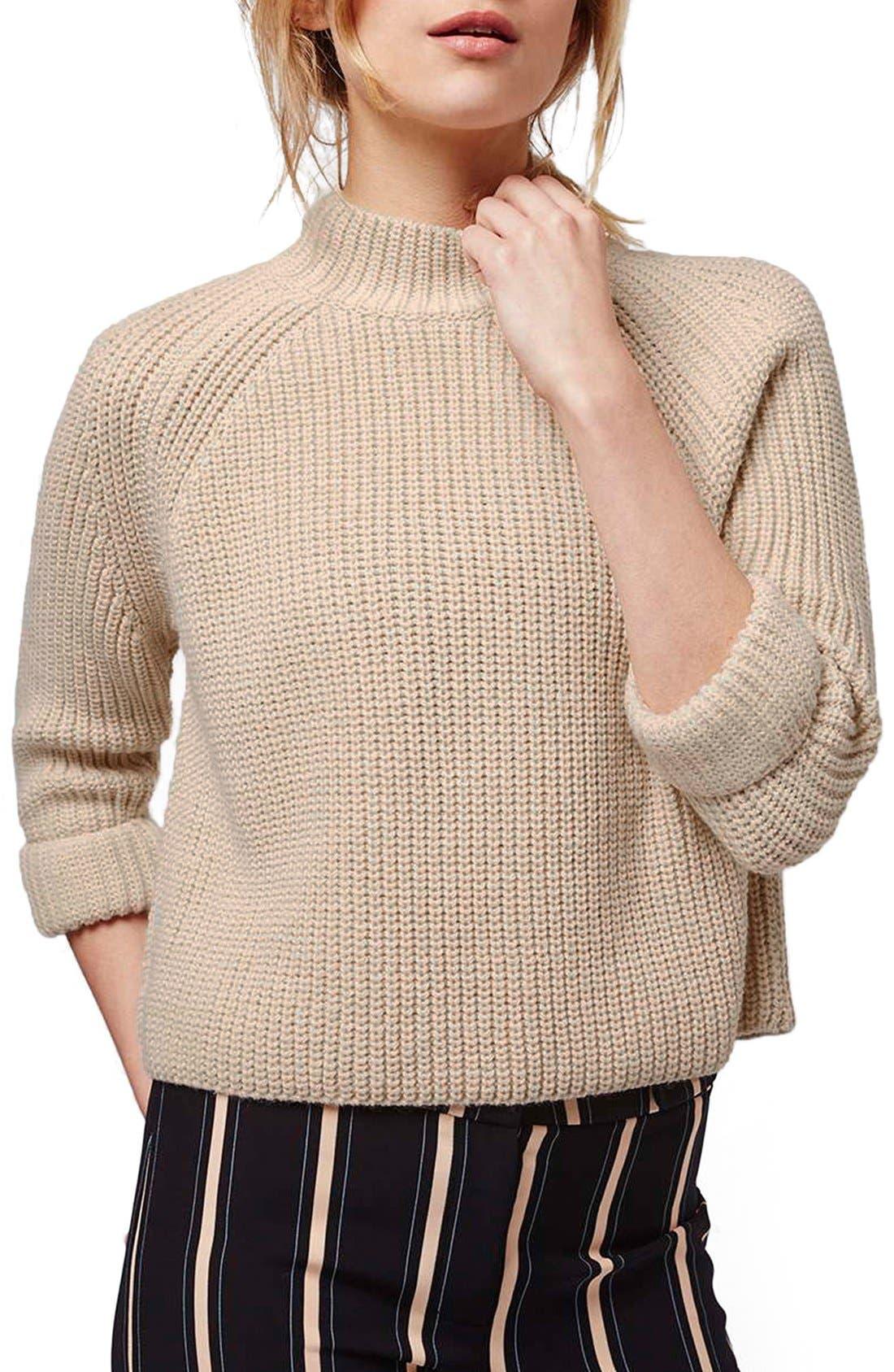 Main Image - Topshop Mock Neck Raglan Sweater (Petite)