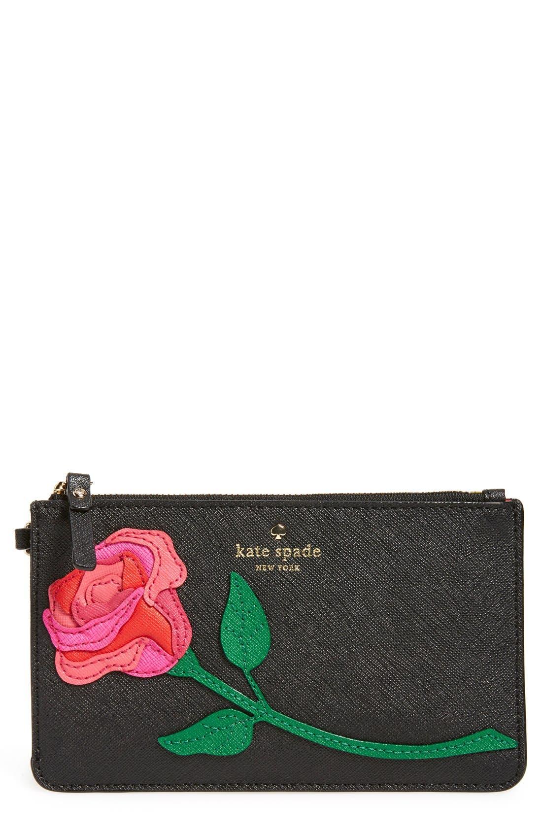 Main Image - kate spade new york 'rose appliqué - slim bee' wristlet