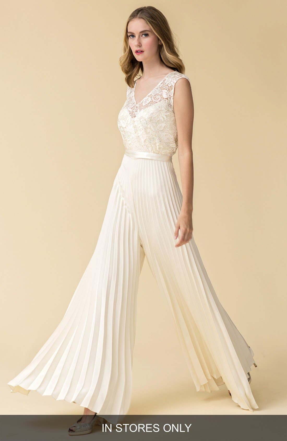 Caroline DeVillo 'Audrey' Pleat Wide Leg Silk Jumpsuit (In Stores Only)