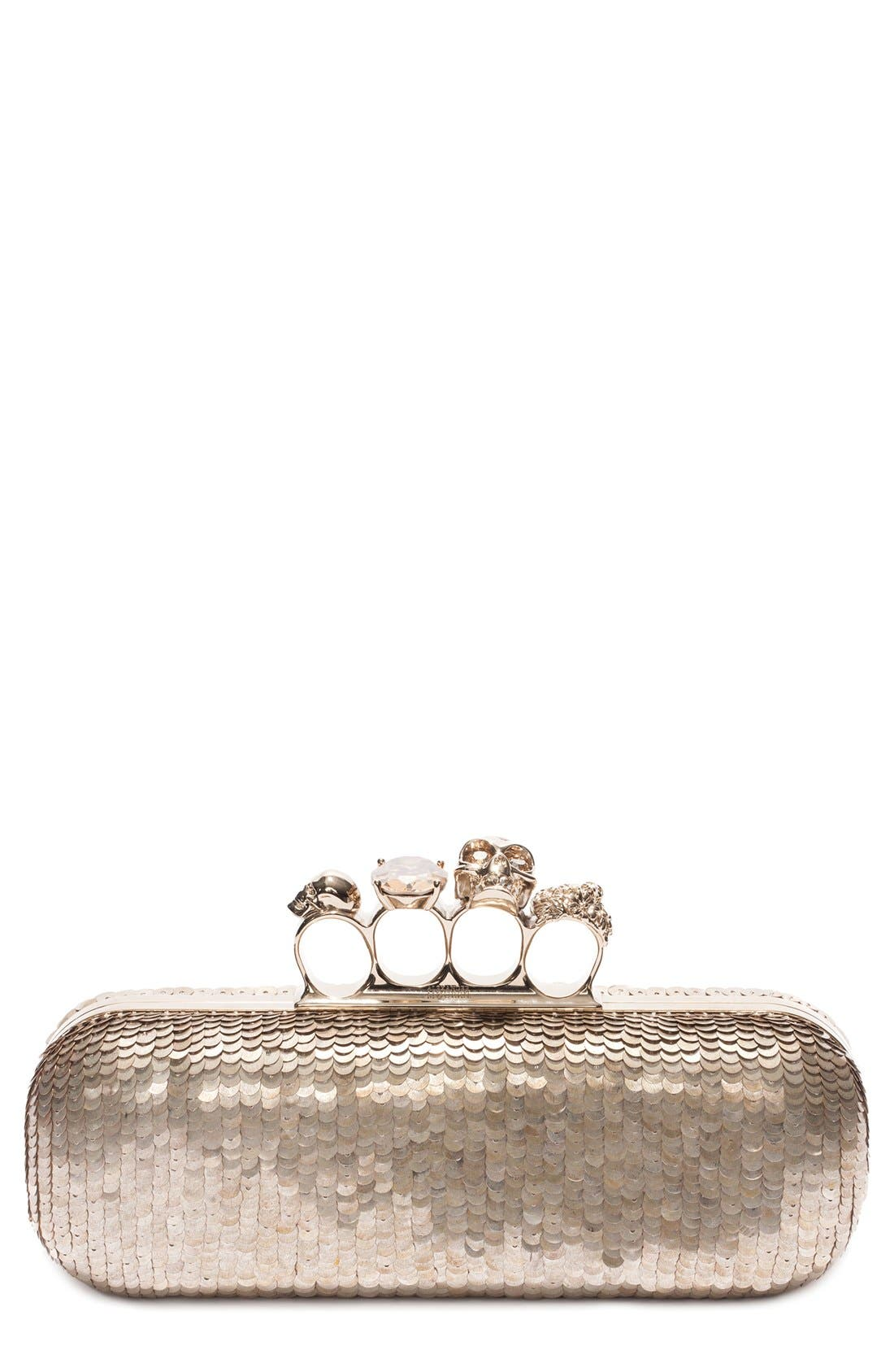 Main Image - Alexander McQueen Knuckle Clasp Leather Box Clutch