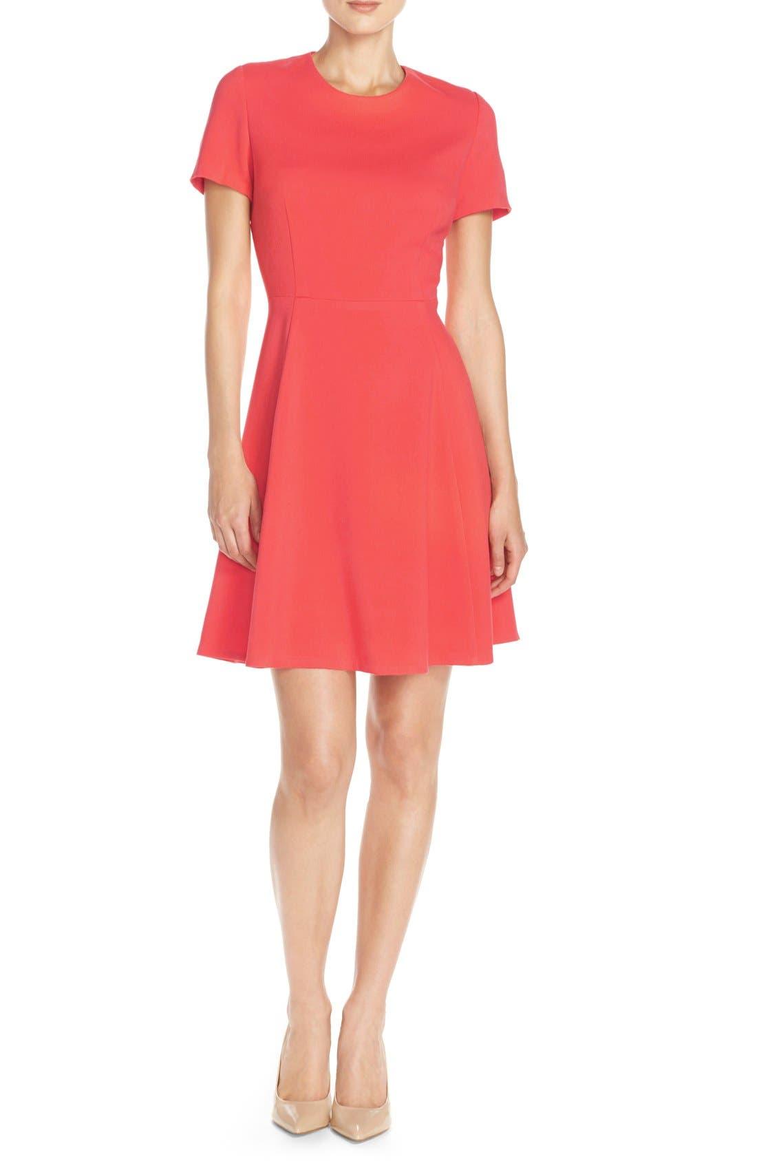 Main Image - Eliza J Crepe Fit & Flare Dress (Regular & Petite)