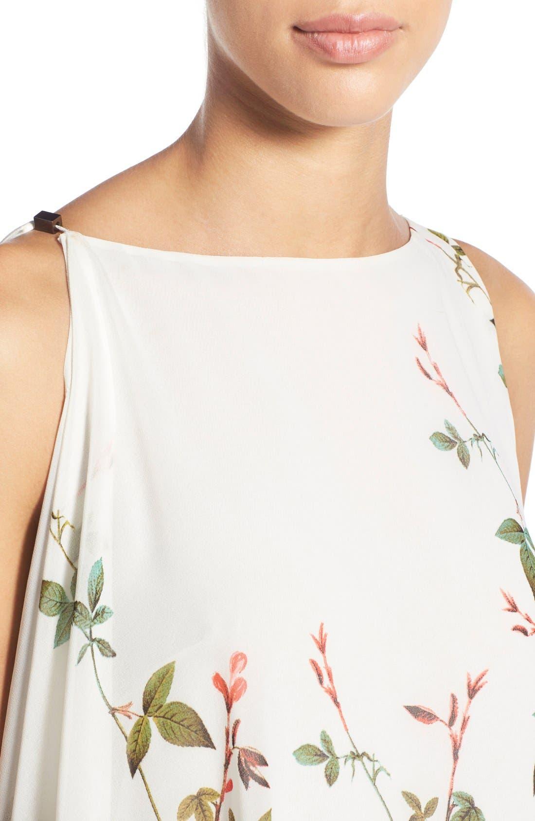 Alternate Image 4  - Adrianna Papell Floral Print Asymmetrical Chiffon Blouse