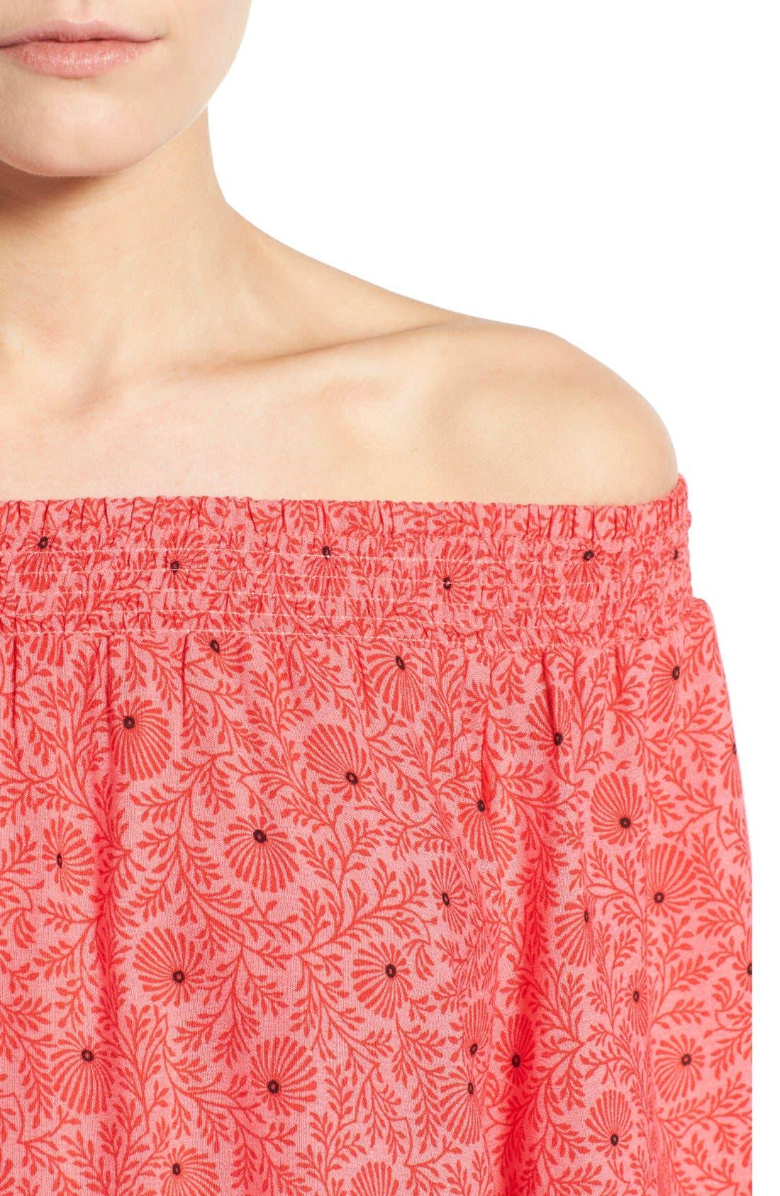 Alternate Image 4  - Bobeau Border Print Off-the-Shoulder Peasant Blouse