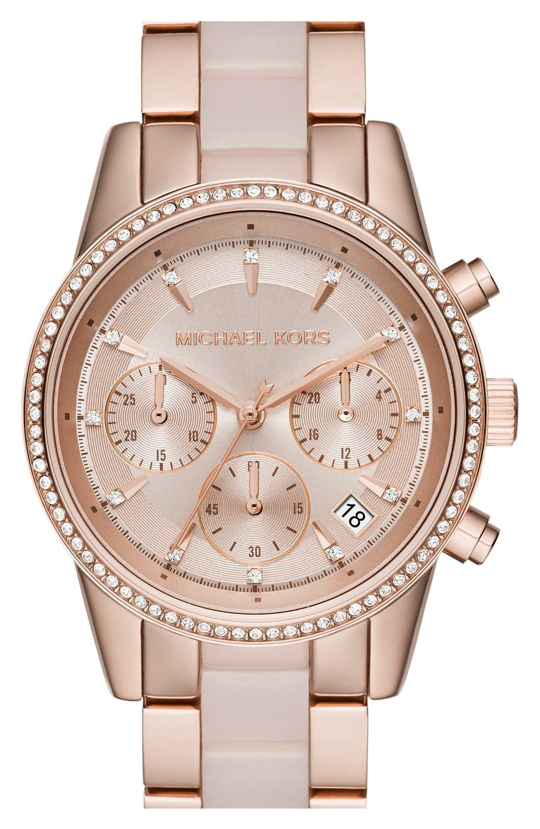 Alternate Image 1 Selected - Michael Kors 'Ritz' Chronograph Bracelet Watch, 37mm