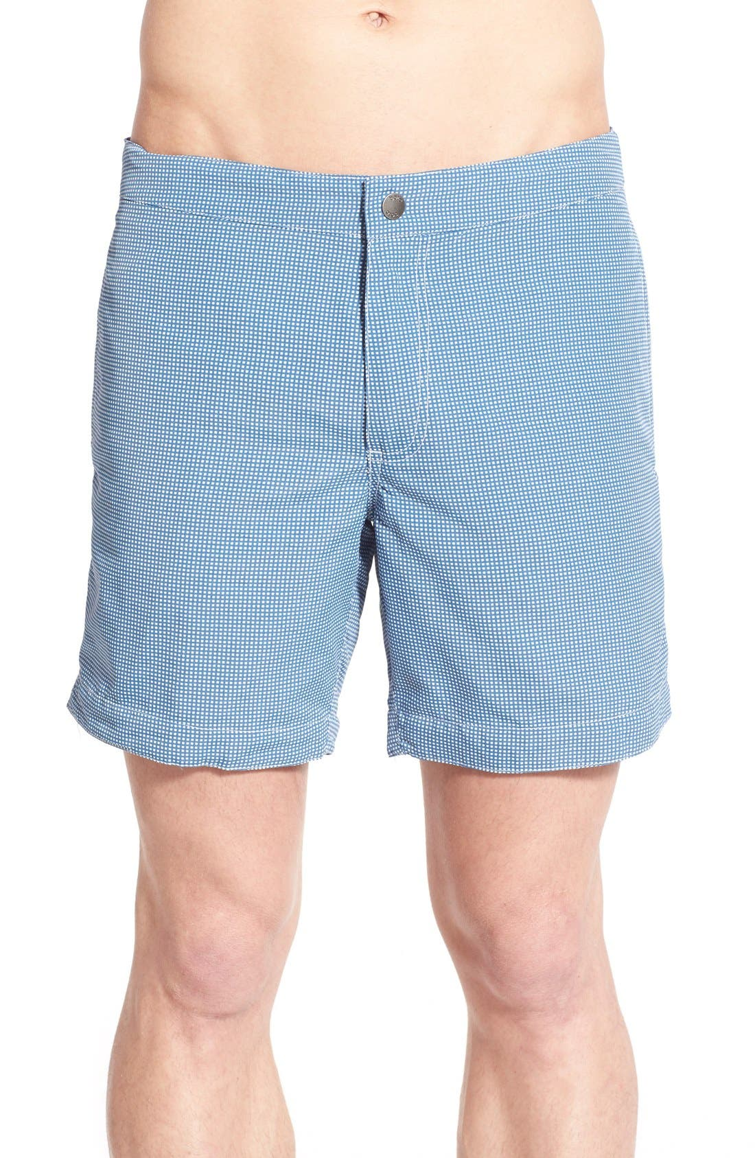 BOTO Aruba Tailored Fit Microcheck Swim Trunks
