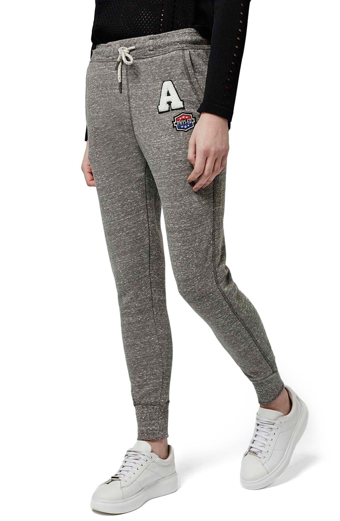 Alternate Image 1 Selected - Topshop 'Jenner' Badge Jogger Pants