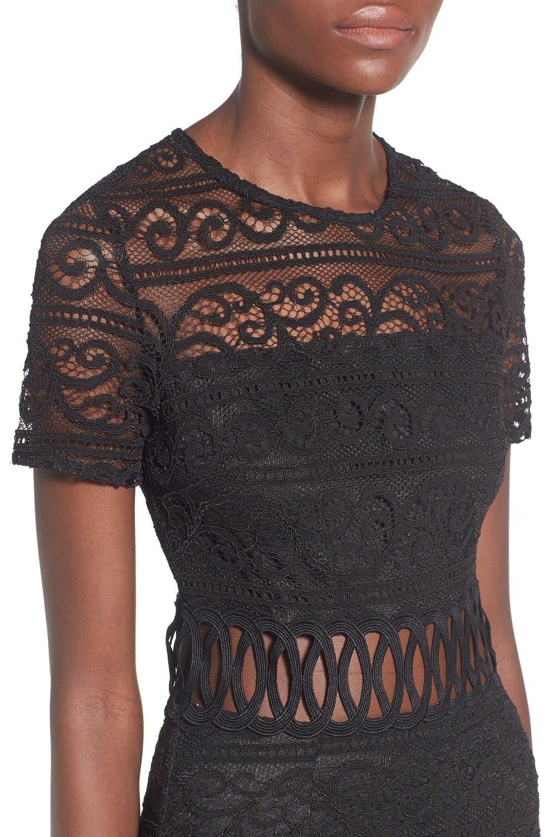 Alternate Image 4  - Missguided Lace Panel Midi Dress